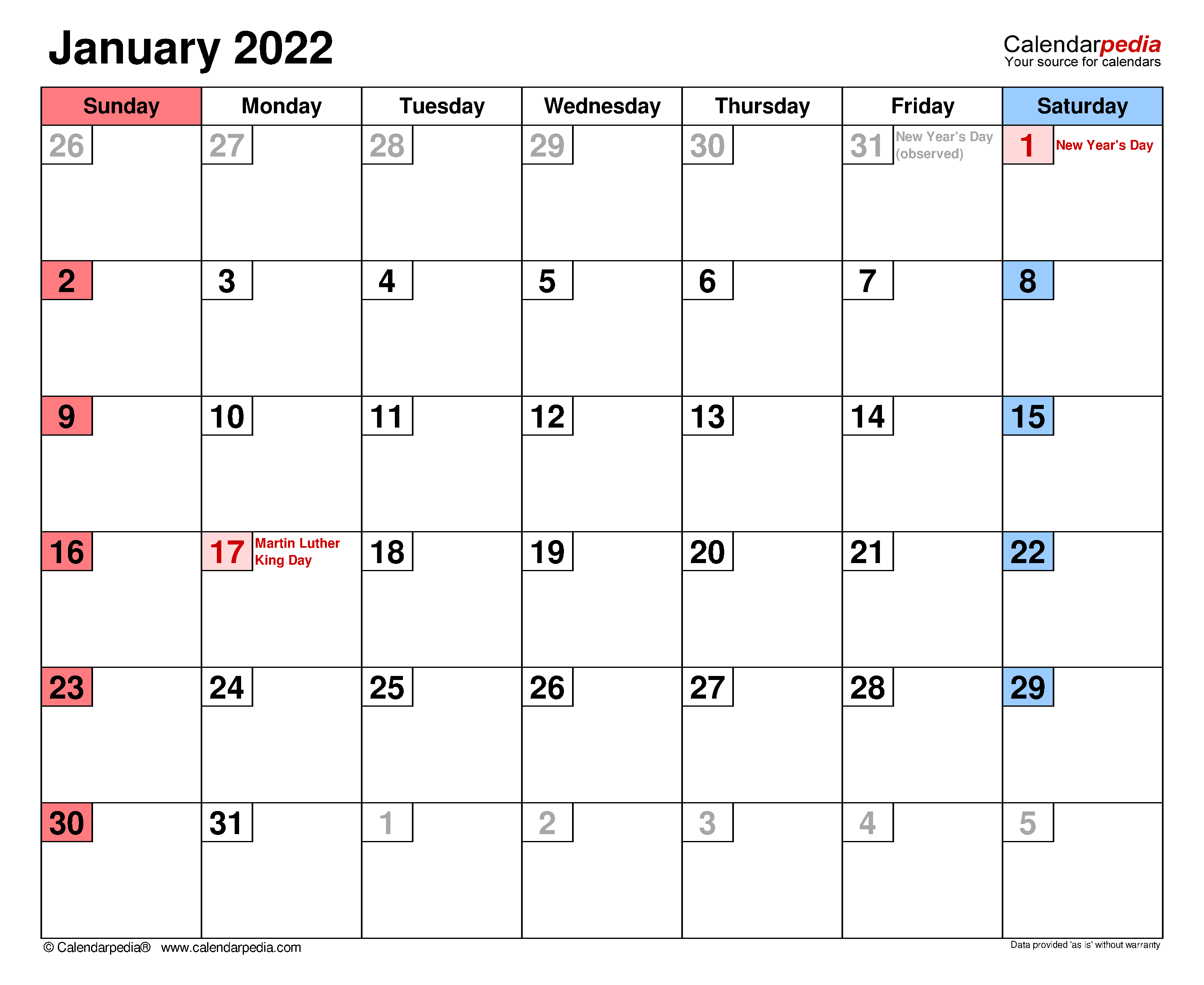 January 2022 Calendar | Templates For Word, Excel And Pdf Throughout Blank January 2022 Calendar