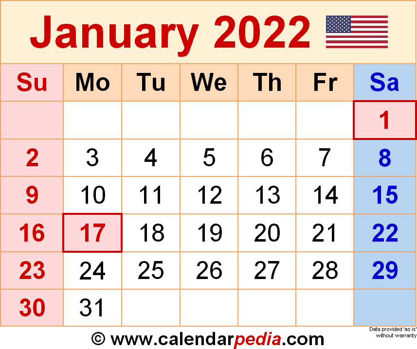January 2022 Calendar | Templates For Word, Excel And Pdf Throughout Printable Calendar January 2022