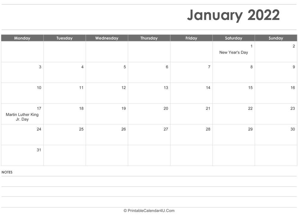 January 2022 Calendar Templates With Images Of January 2022 Calendar