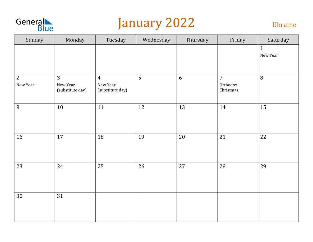 January 2022 Calendar - Ukraine Inside Half Page 2022 January Calendar