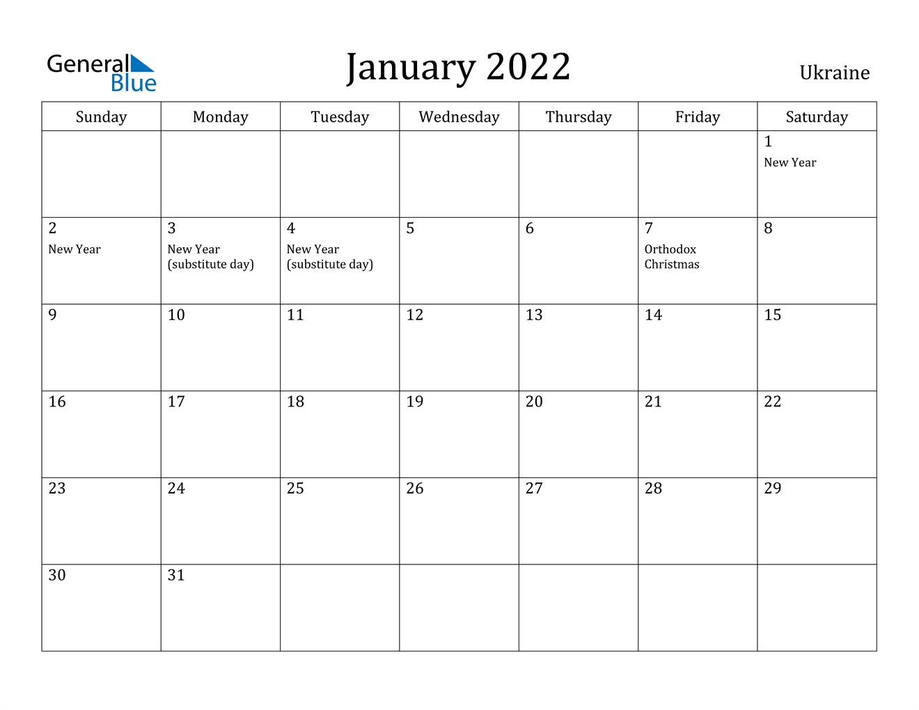 January 2022 Calendar - Ukraine Throughout January2022 Printable Calendar Cute