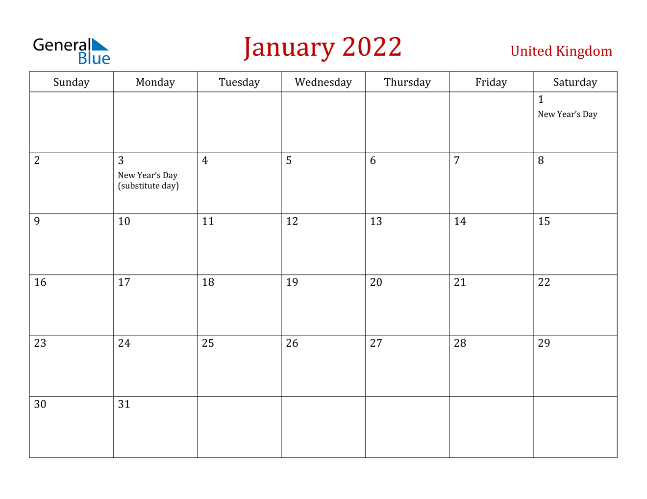 January 2022 Calendar - United Kingdom inside Empty January 2022 Calendar