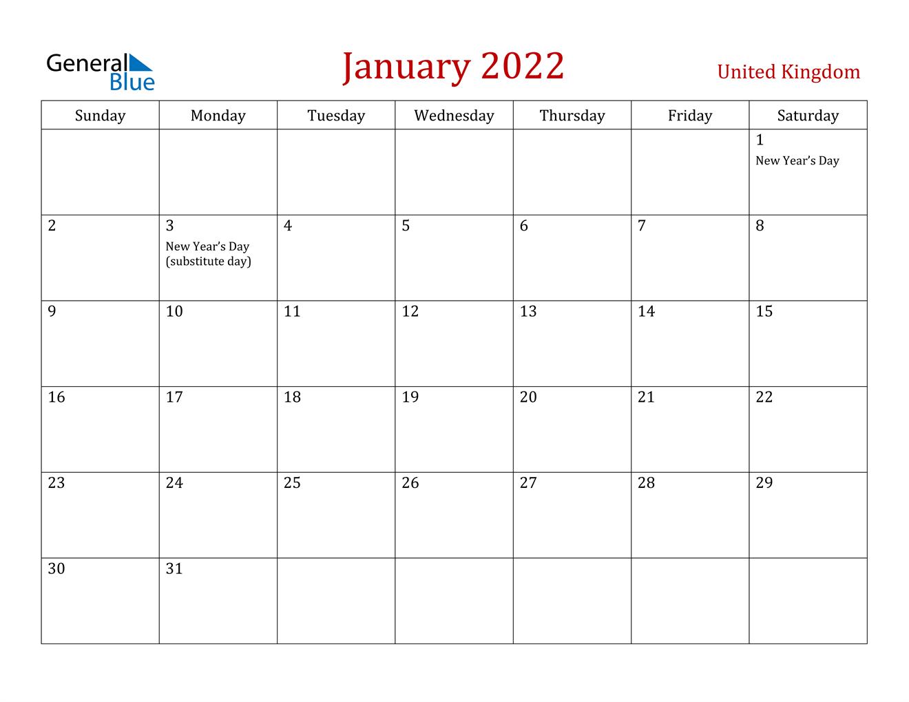 January 2022 Calendar - United Kingdom With January 2022 Printable Calendar