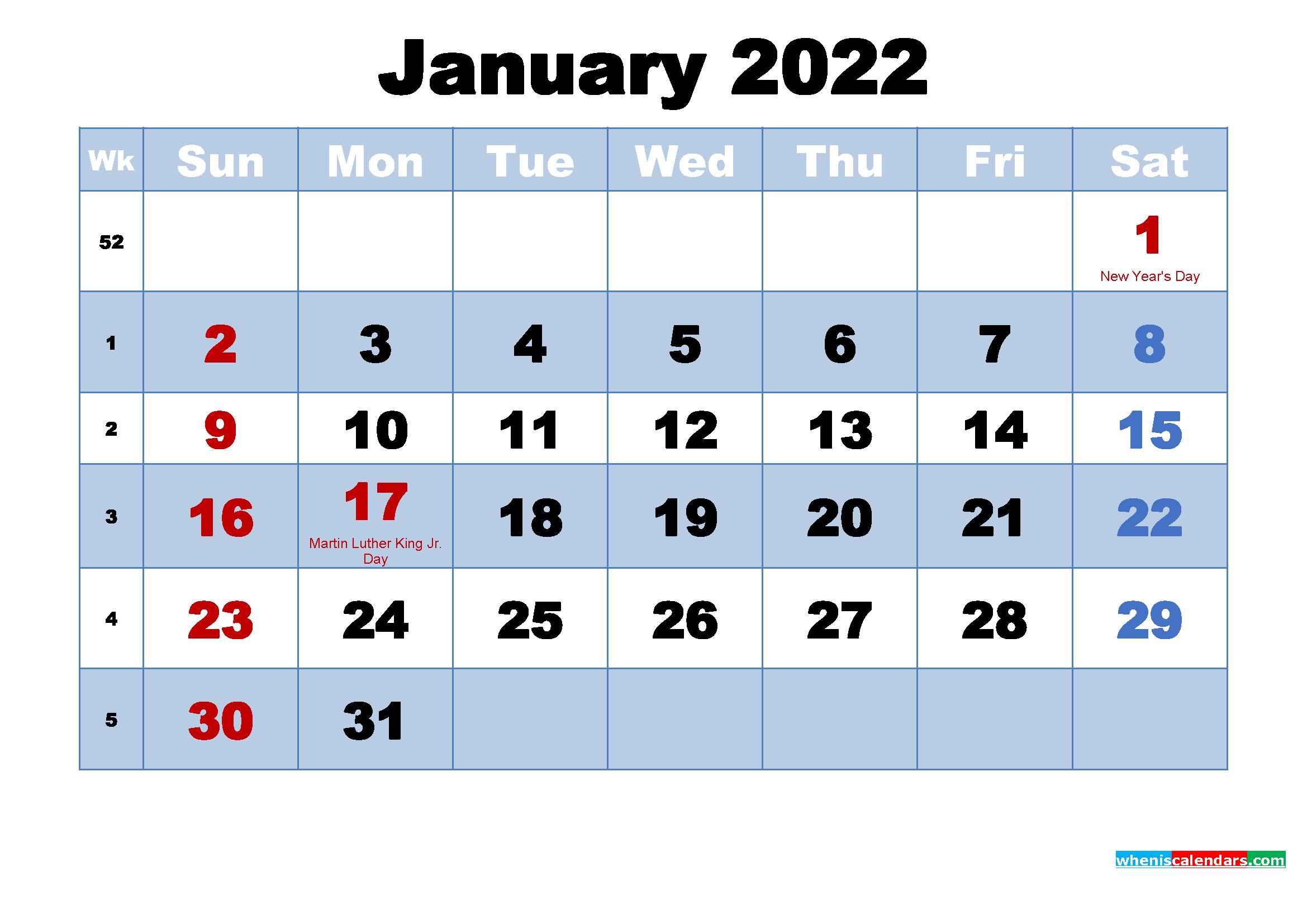 January 2022 Calendar With Holidays Printable | Free Throughout Calendar 2022 January Printable