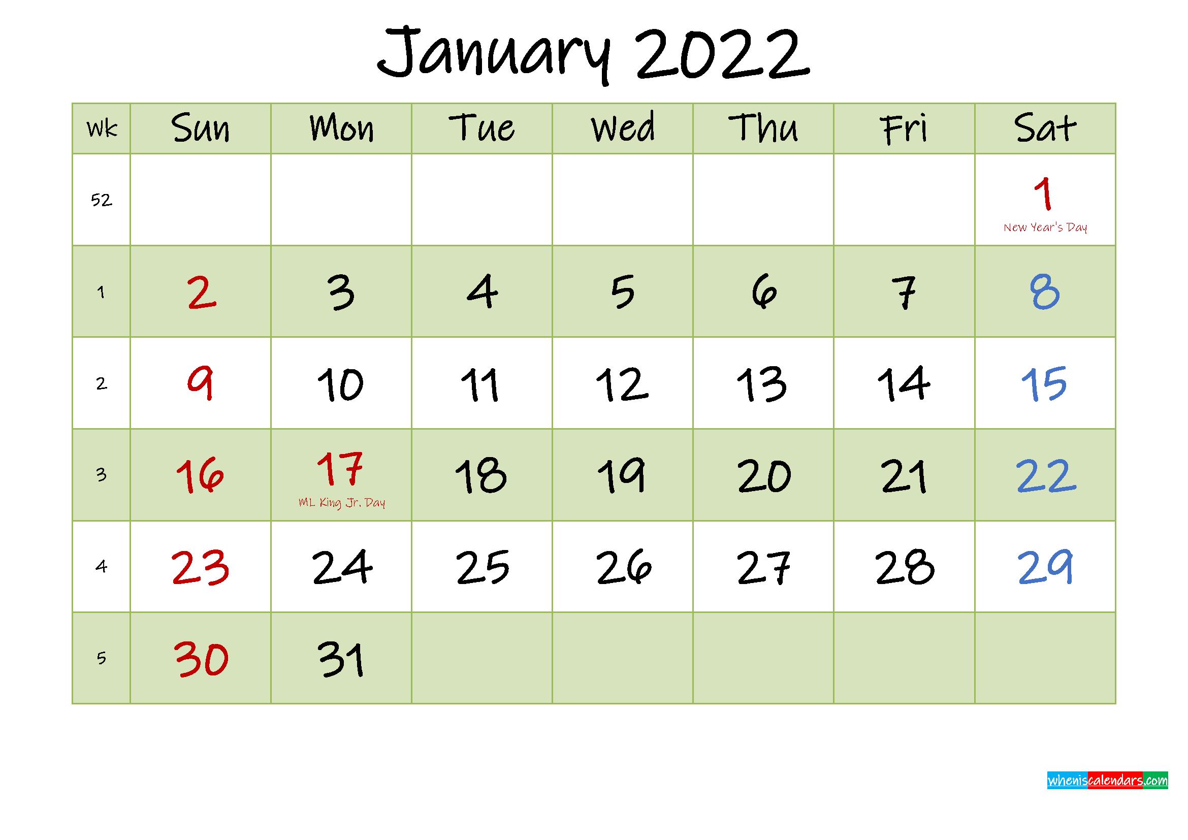 January 2022 Calendar With Holidays Printable – Template In January2022 Printable Calendar Cute