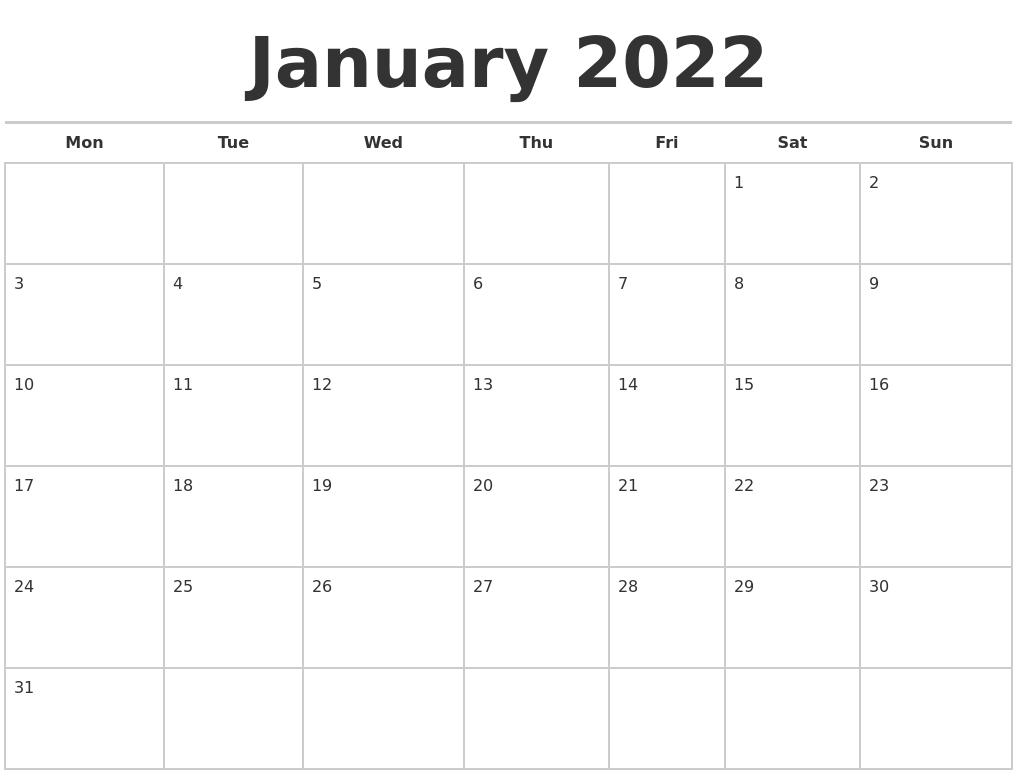 January 2022 Calendars Free Throughout January 2022 Printable Calendar