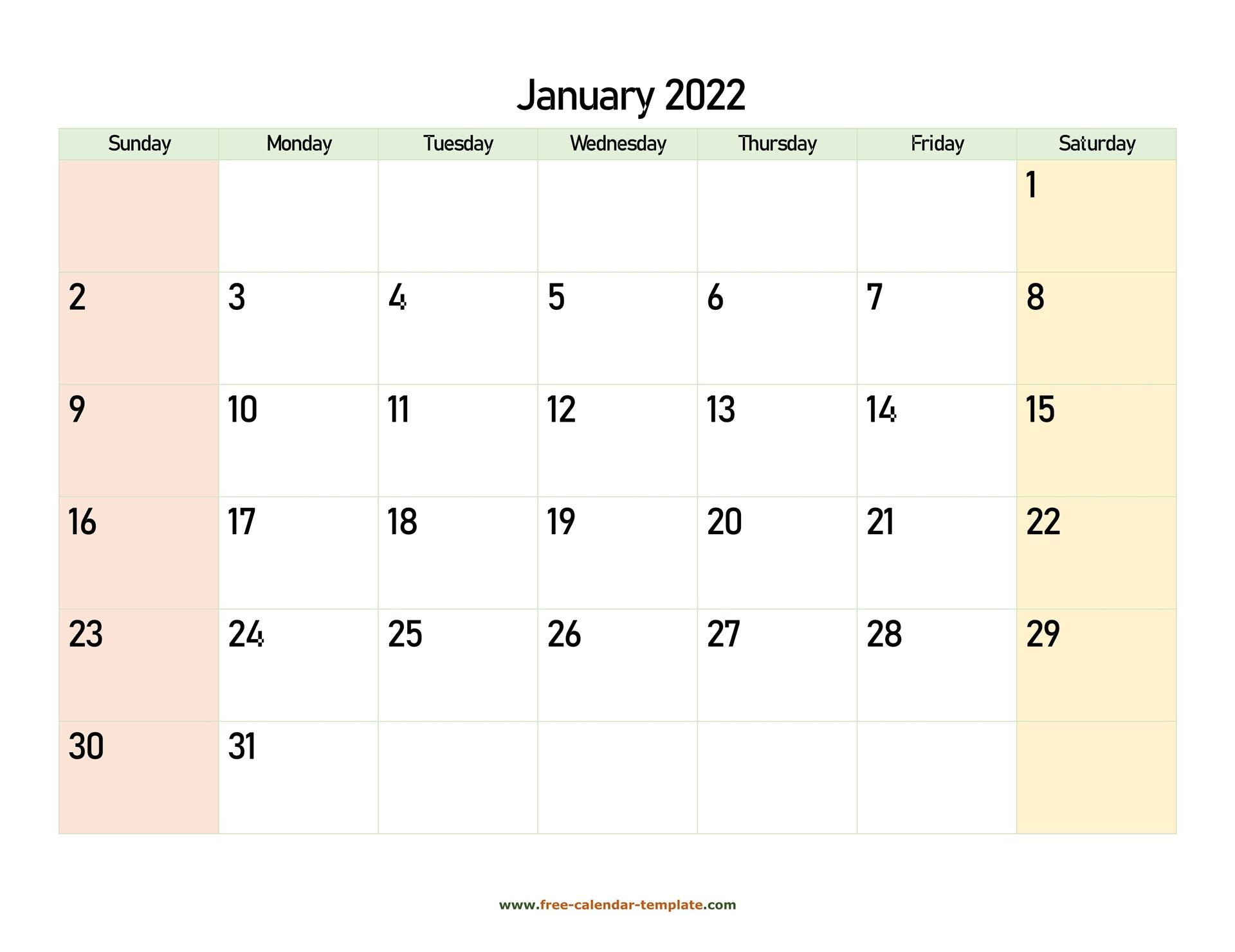 January 2022 Free Calendar Tempplate   Free-Calendar in January 2022 Calendar Printable Pdf