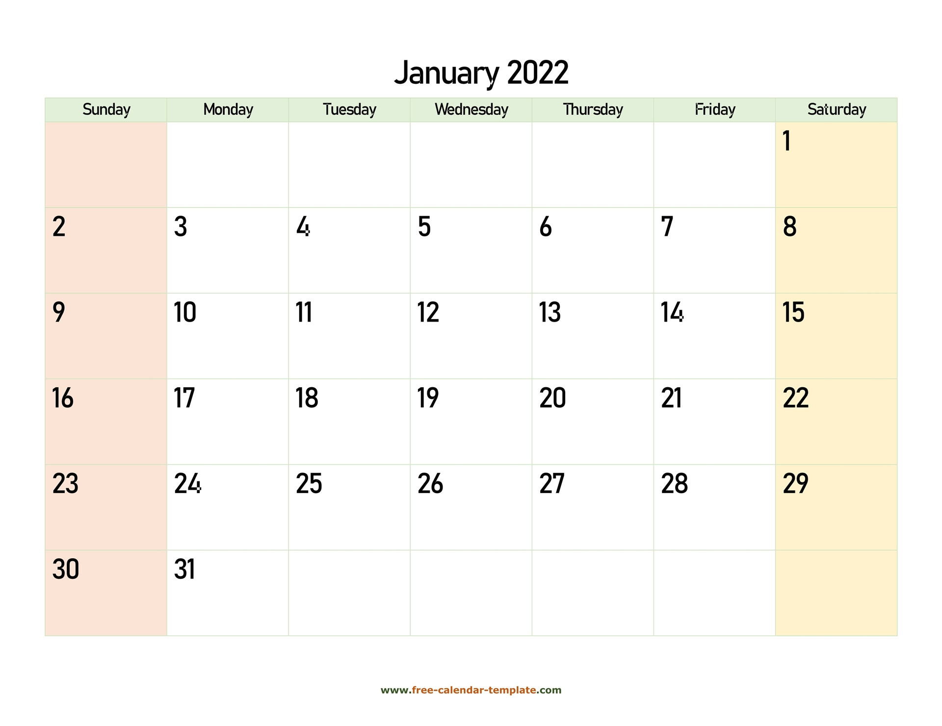 January 2022 Free Calendar Tempplate   Free Calendar Inside Monthly Calendar 2022 January