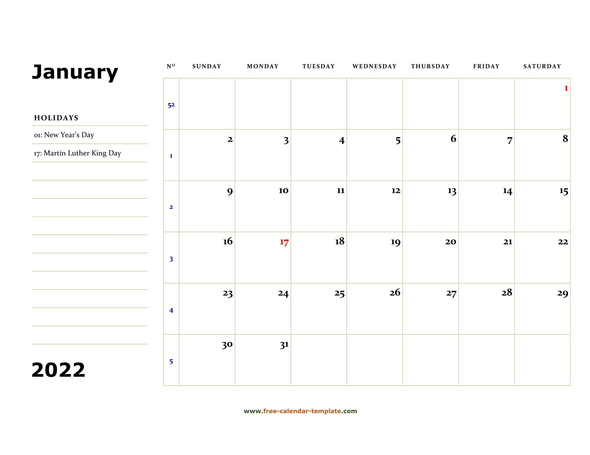 January 2022 Free Calendar Tempplate | Free Calendar Template With Regard To Landscape Calendar January 2022