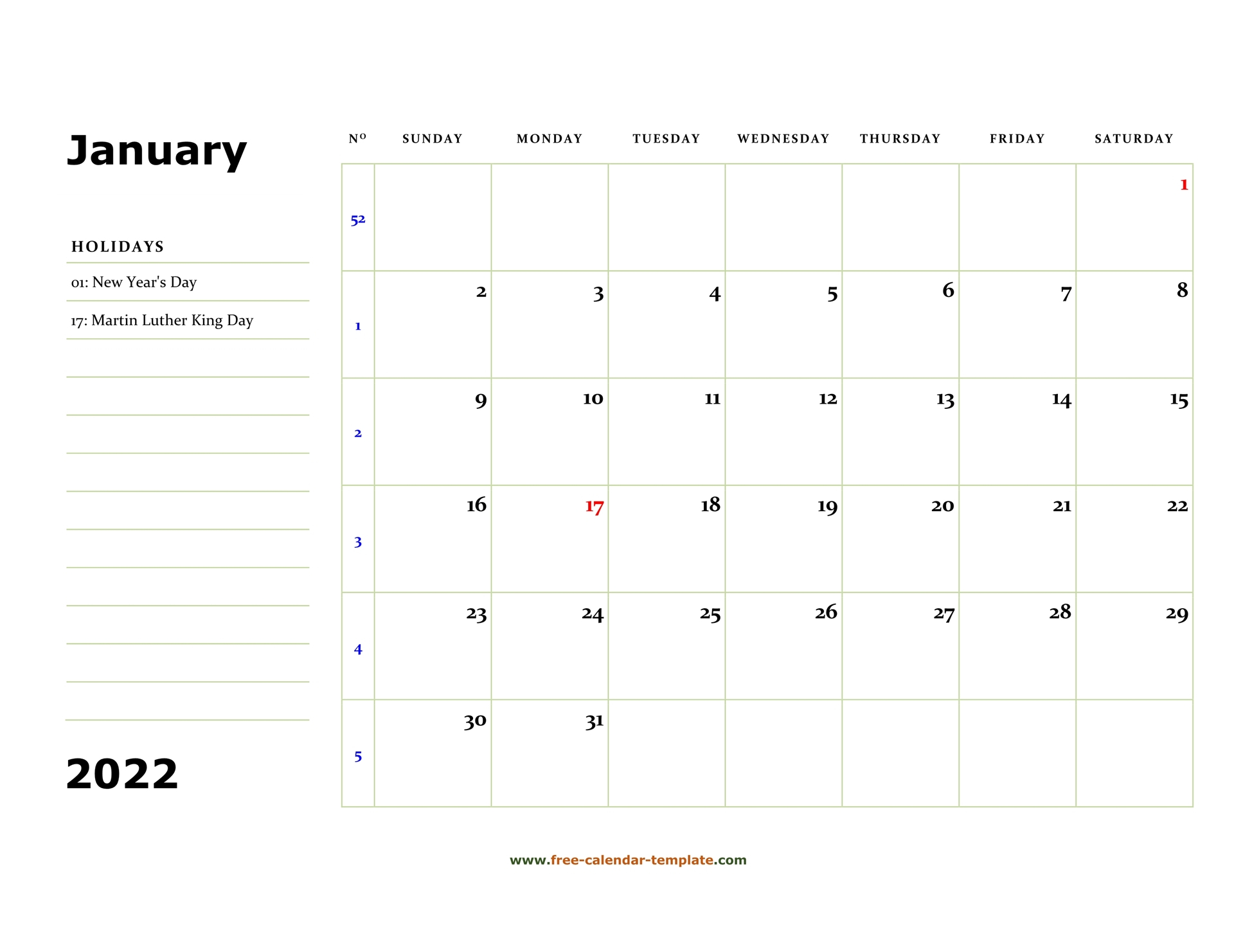 January 2022 Free Calendar Tempplate   Free Calendar Throughout Monthly Calendar 2022 January