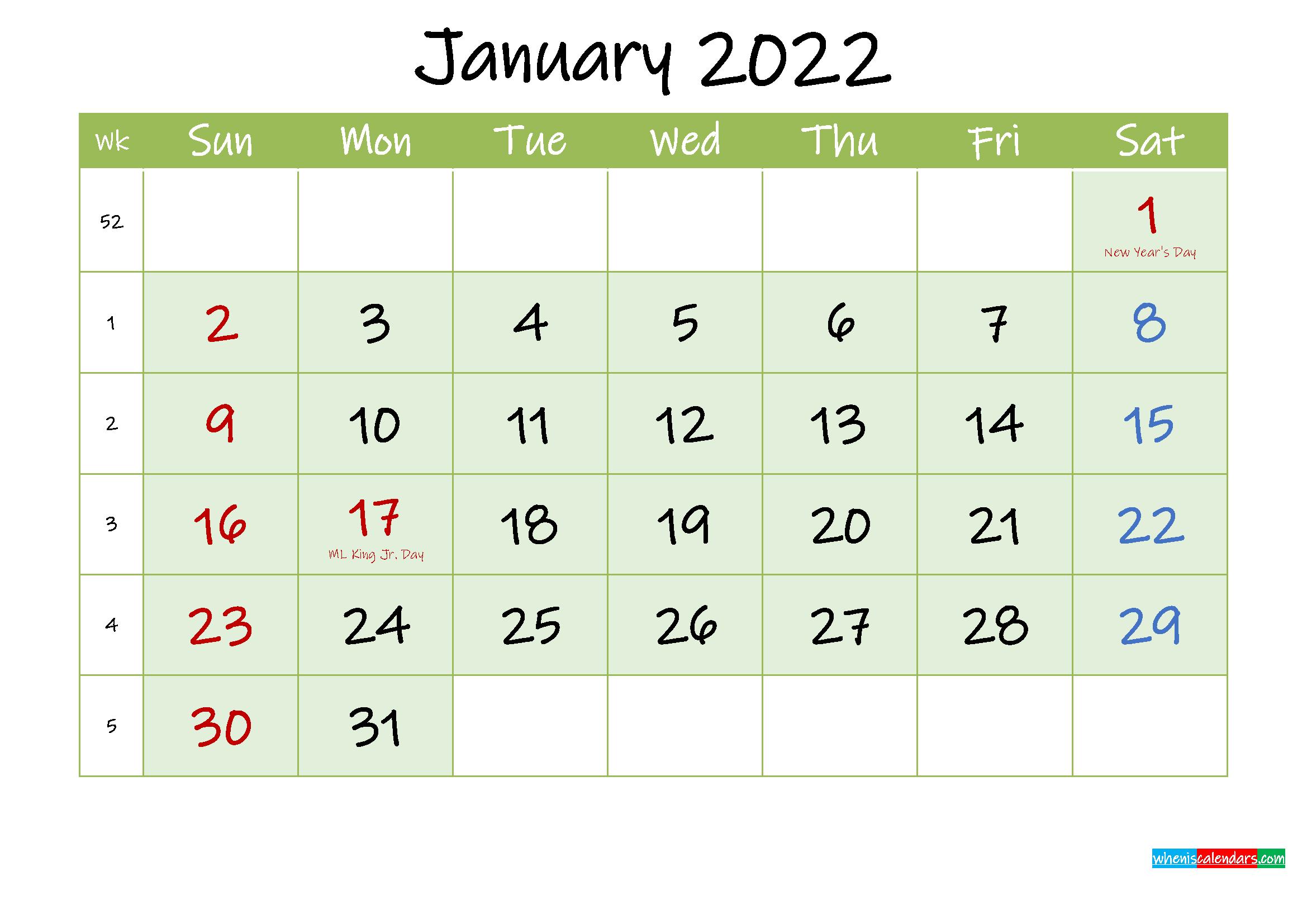 January 2022 Free Printable Calendar – Template Ink22M121 Throughout January 2022 Calendar Printable Free