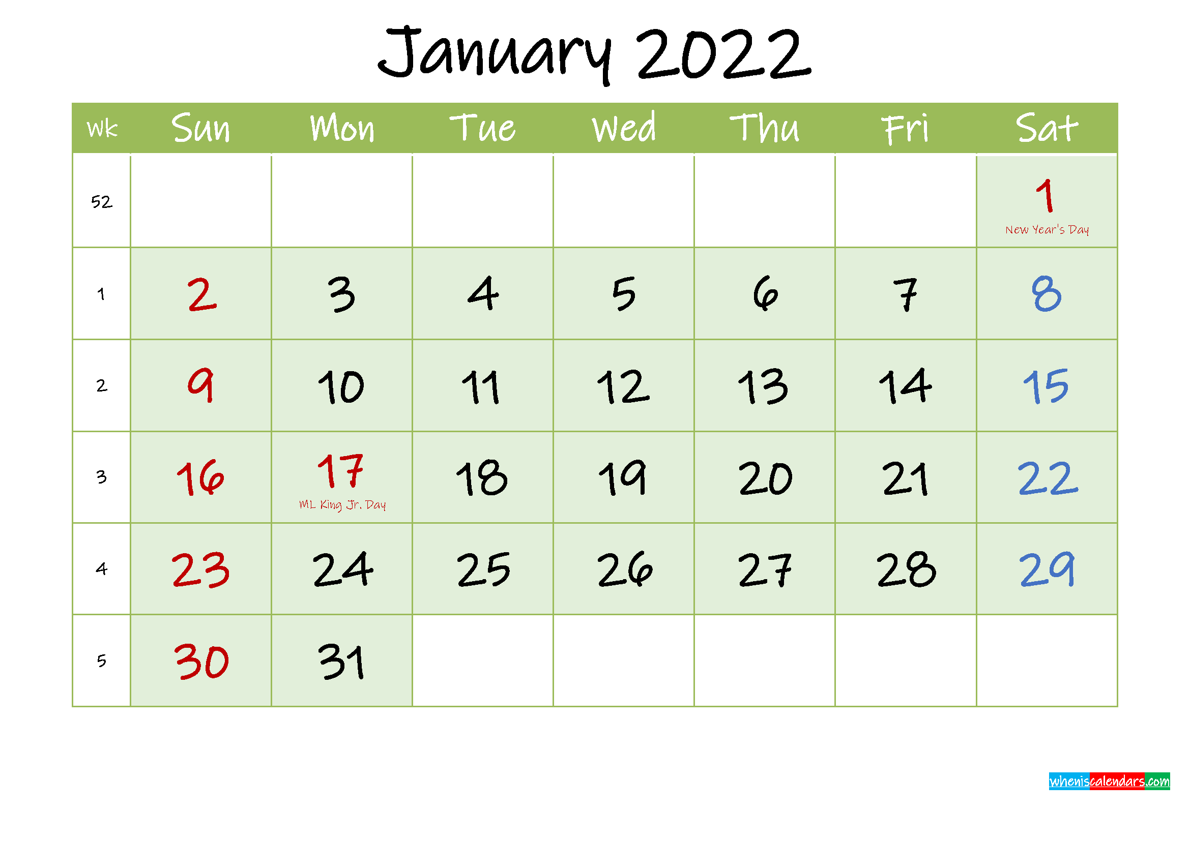 January 2022 Free Printable Calendar - Template Ink22M121 throughout Monthly Calendar January 2022