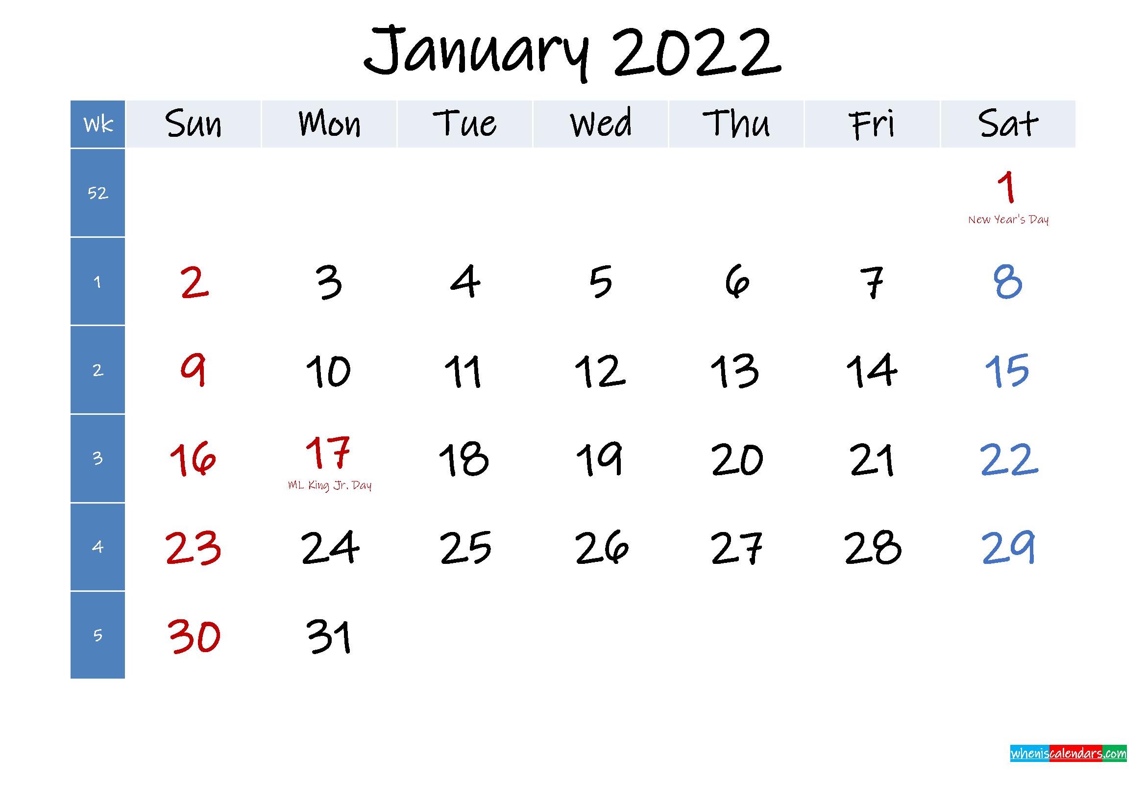 January 2022 Free Printable Calendar With Holidays Inside Calendar 2022 January Printable