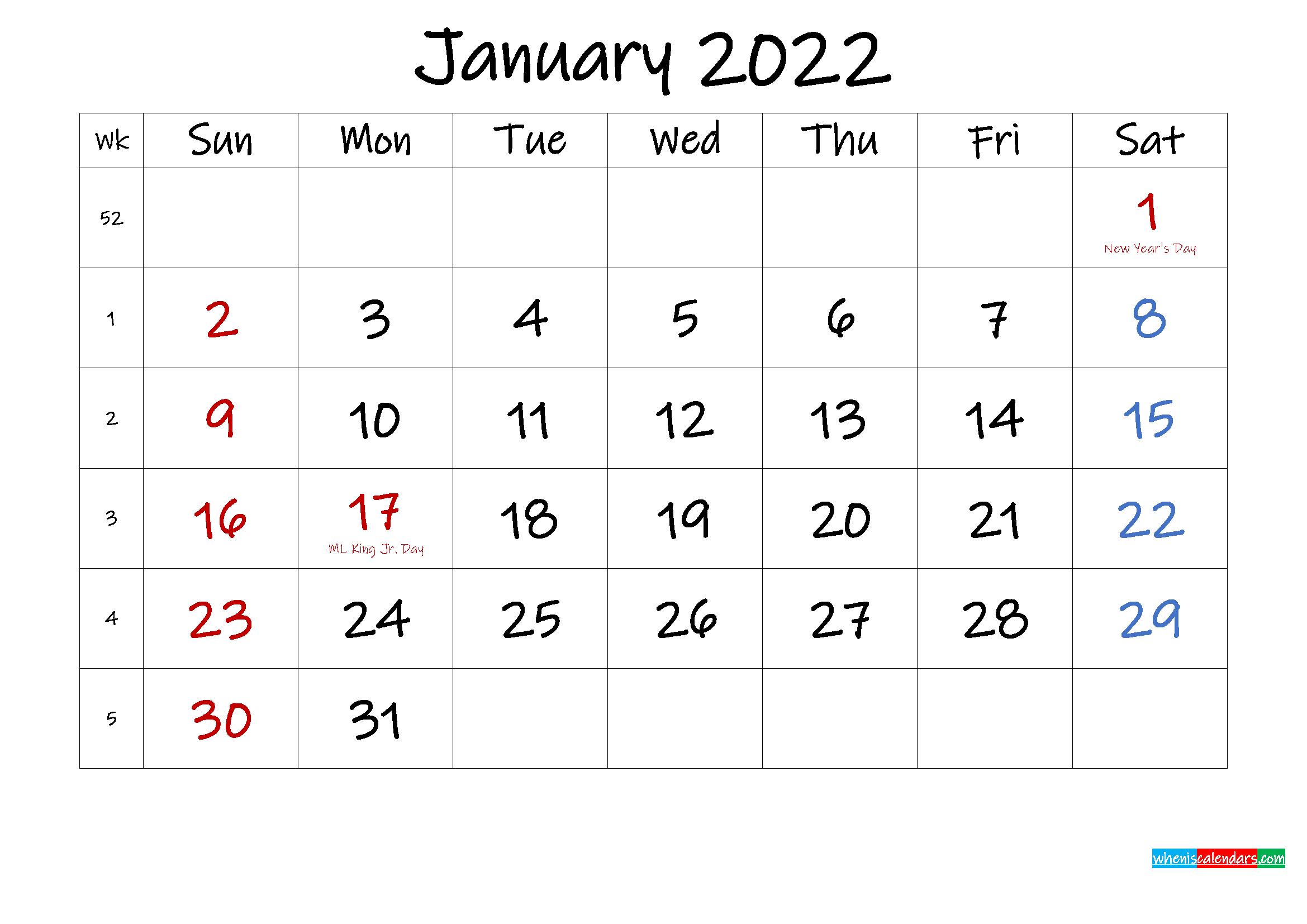 January 2022 Free Printable Calendar With Holidays Regarding Monthly Calendar 2022 January