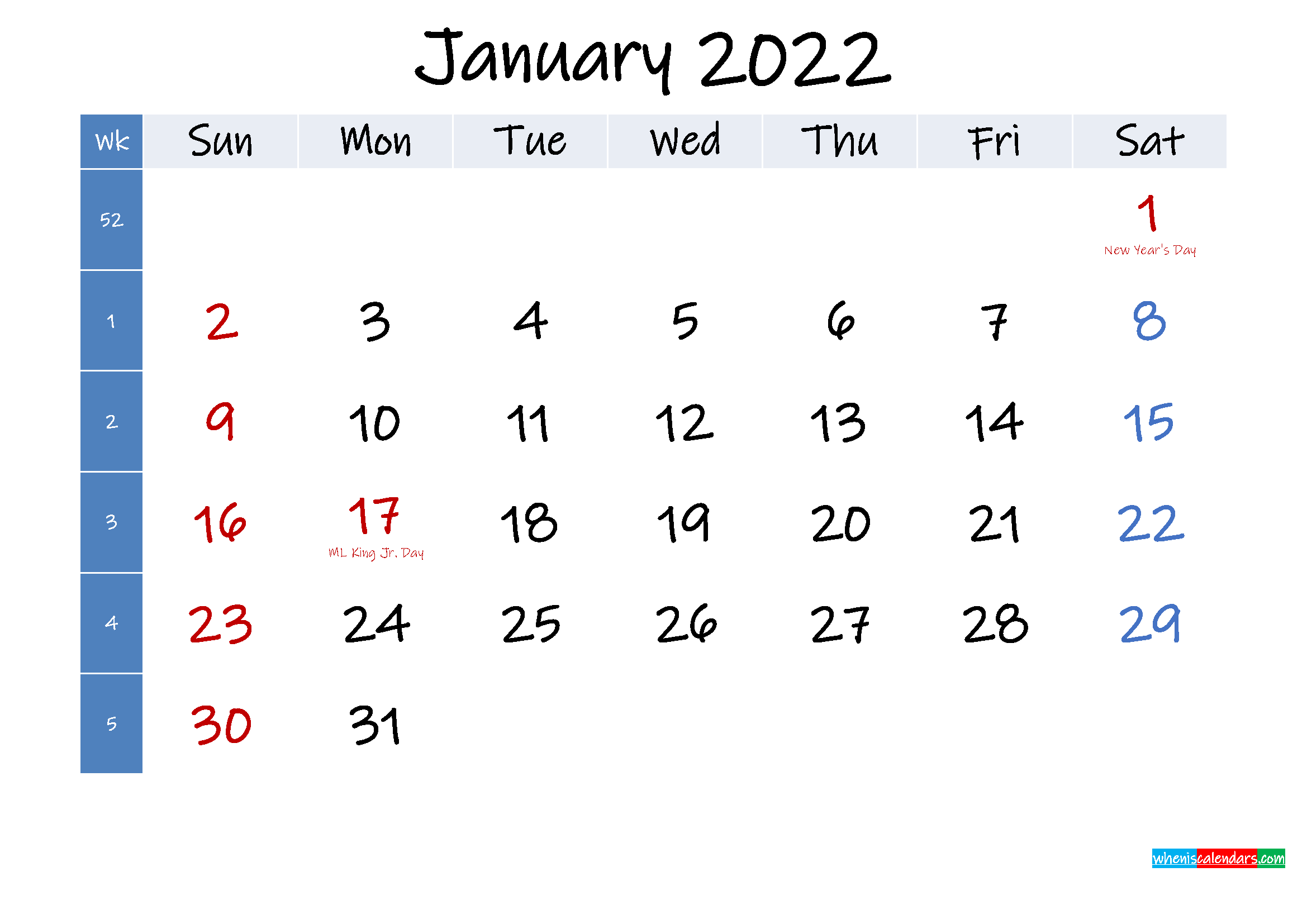 January 2022 Free Printable Calendar With Holidays With Regard To January Printable Calendar 2022