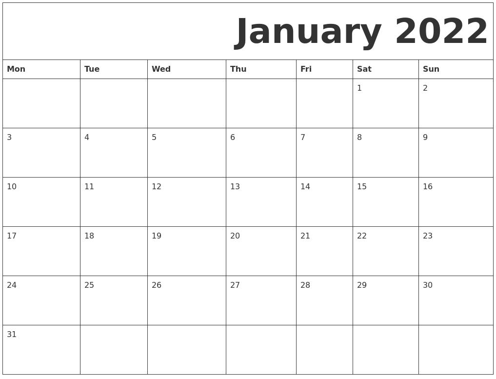 January 2022 Free Printable Calendar With January 2022 Free Printable Calendar