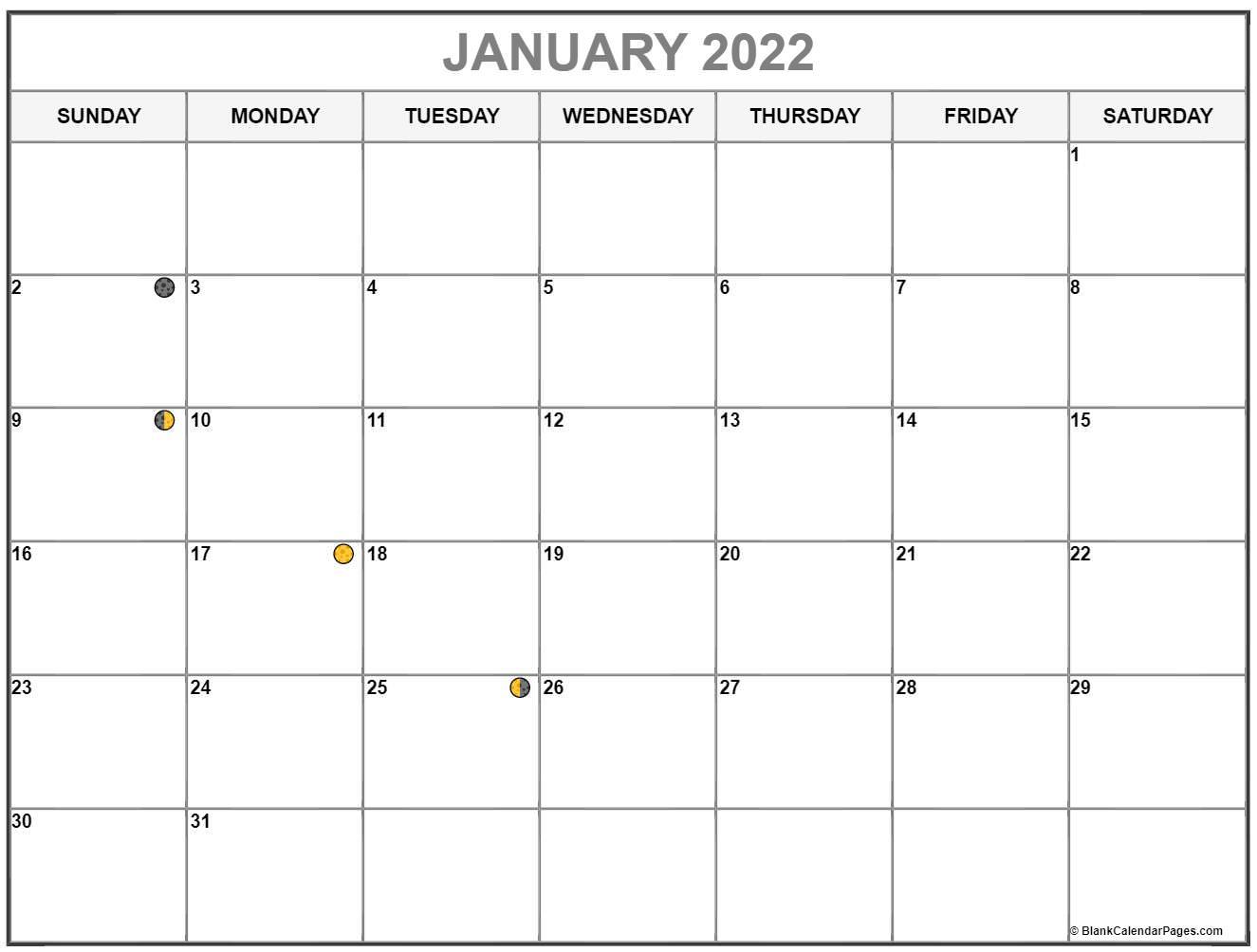 January 2022 Lunar Calendar | Moon Phase Calendar Inside Blank January 2022 Calendar