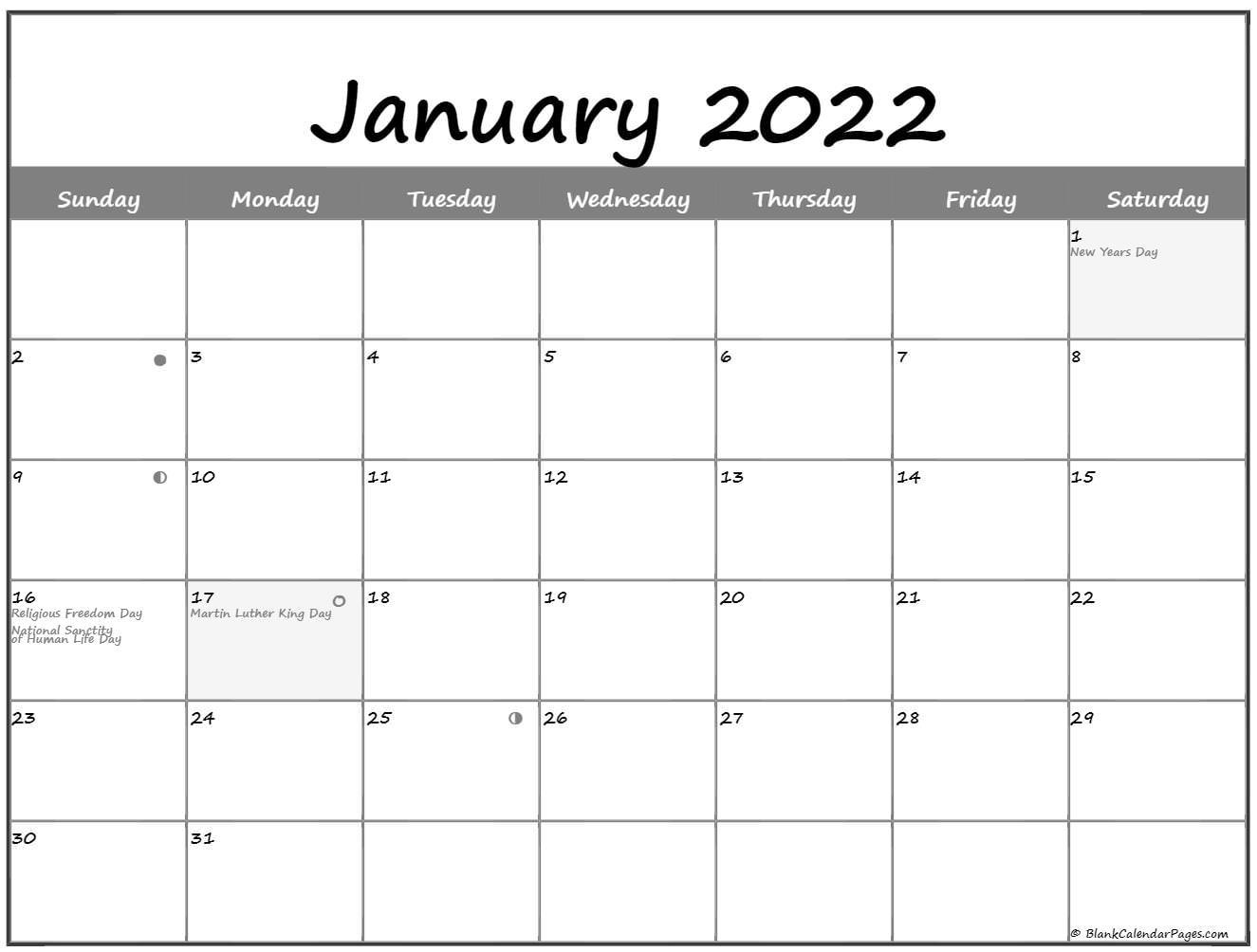 January 2022 Lunar Calendar | Moon Phase Calendar Throughout Blank January 2022 Calendar