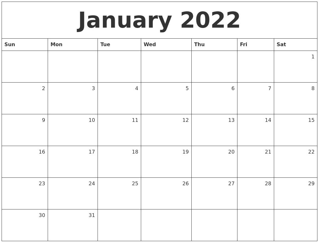 January 2022 Monthly Calendar Intended For Blank January 2022 Calendar