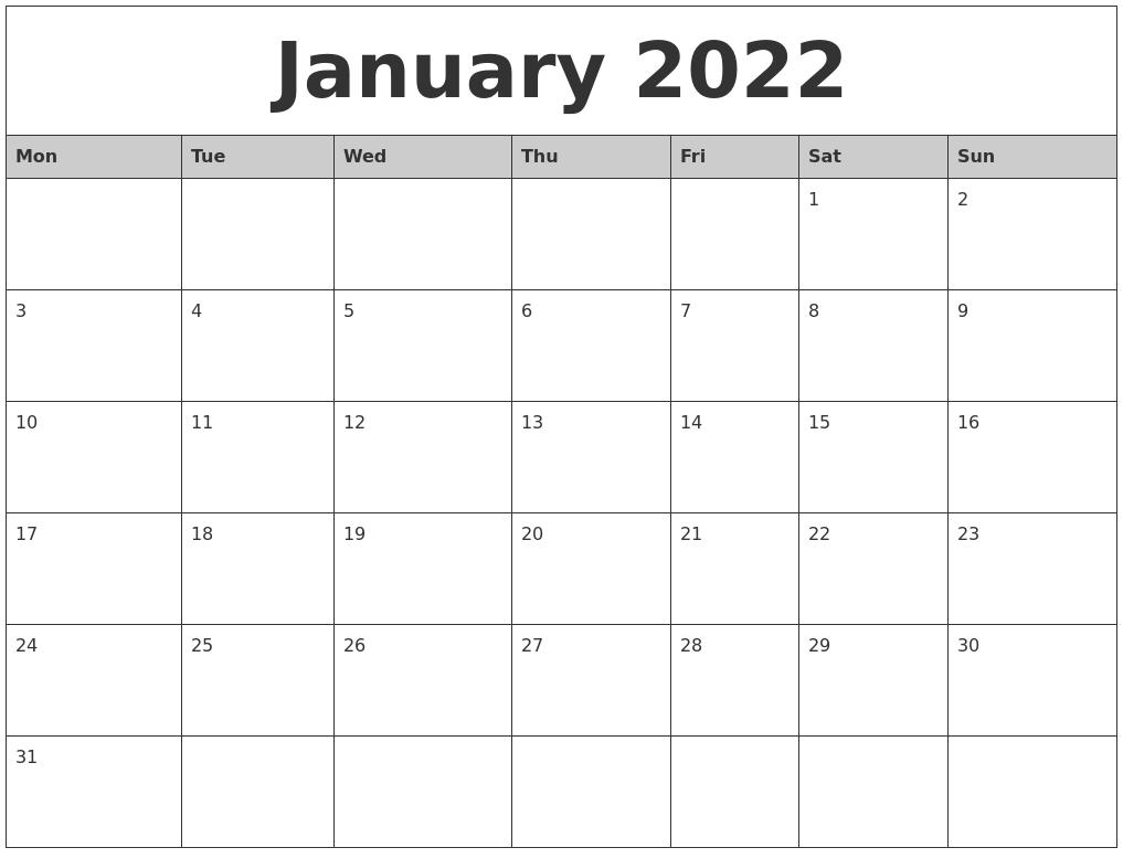 January 2022 Monthly Calendar Printable With Regard To February 2022 Calendar Monday Start