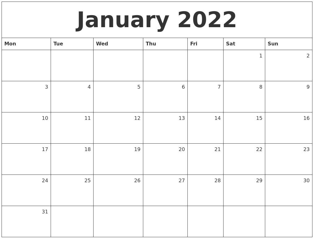 January 2022 Monthly Calendar Throughout Calendar Of January 2022