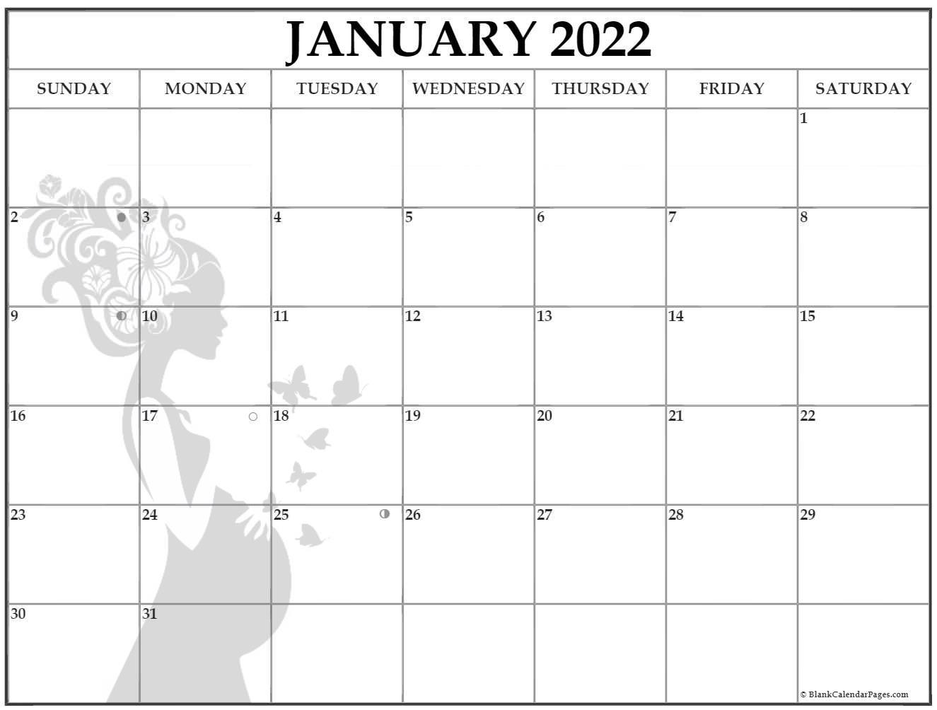 January 2022 Pregnancy Calendar | Fertility Calendar Inside Half Page 2022 January Calendar