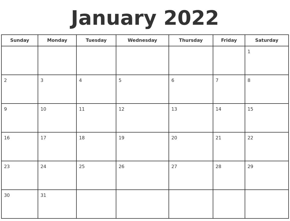 January 2022 Print A Calendar Throughout January2022 Printable Calendar Cute