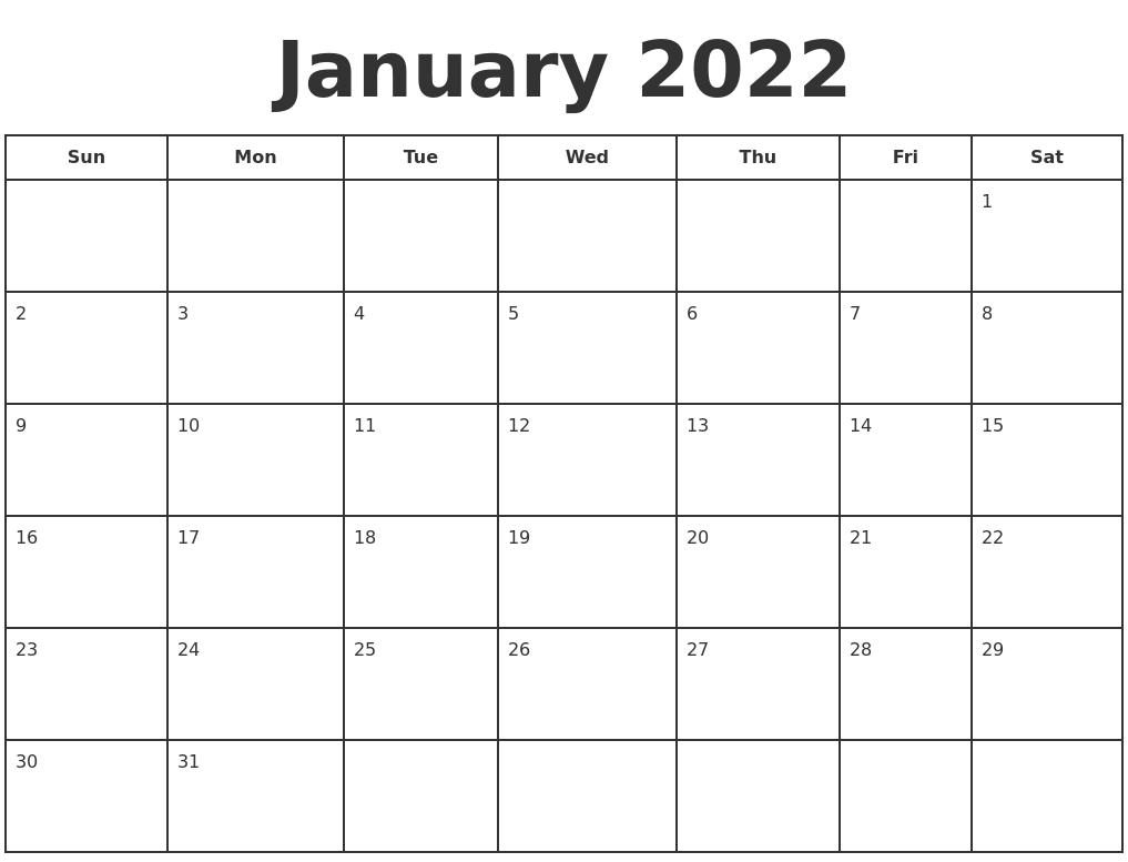 January 2022 Print A Calendar With Regard To Empty Calendar January 2022