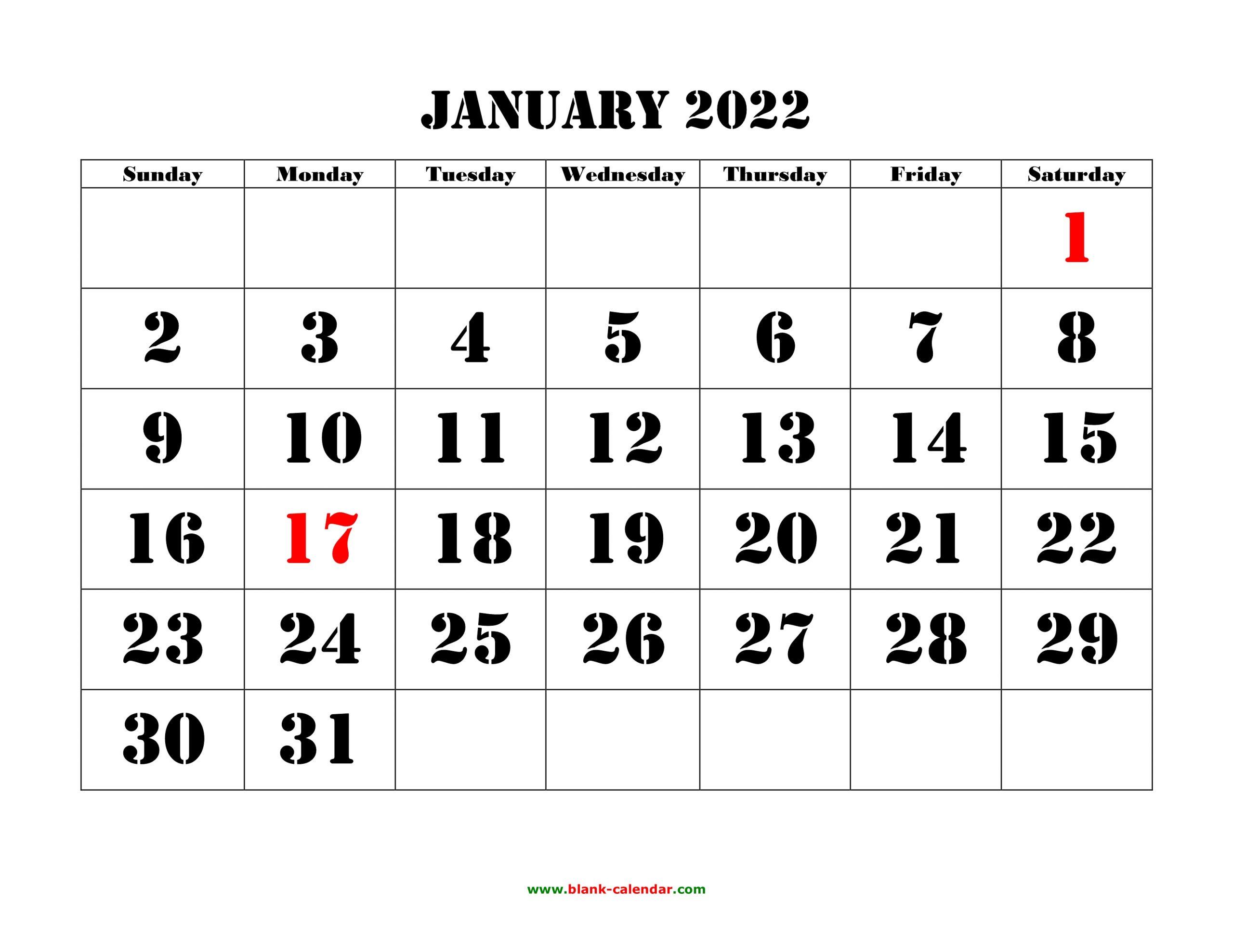 January 2022 Printable Calendar | Free Download Monthly In January Calendar Printable 2022