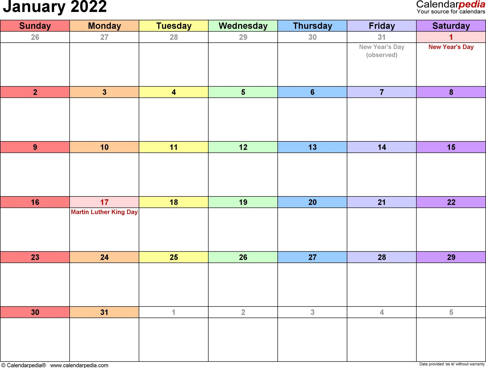 January 2022 Printable Calendar   Free Printable Calendar Regarding Printable January 2022 Calendar