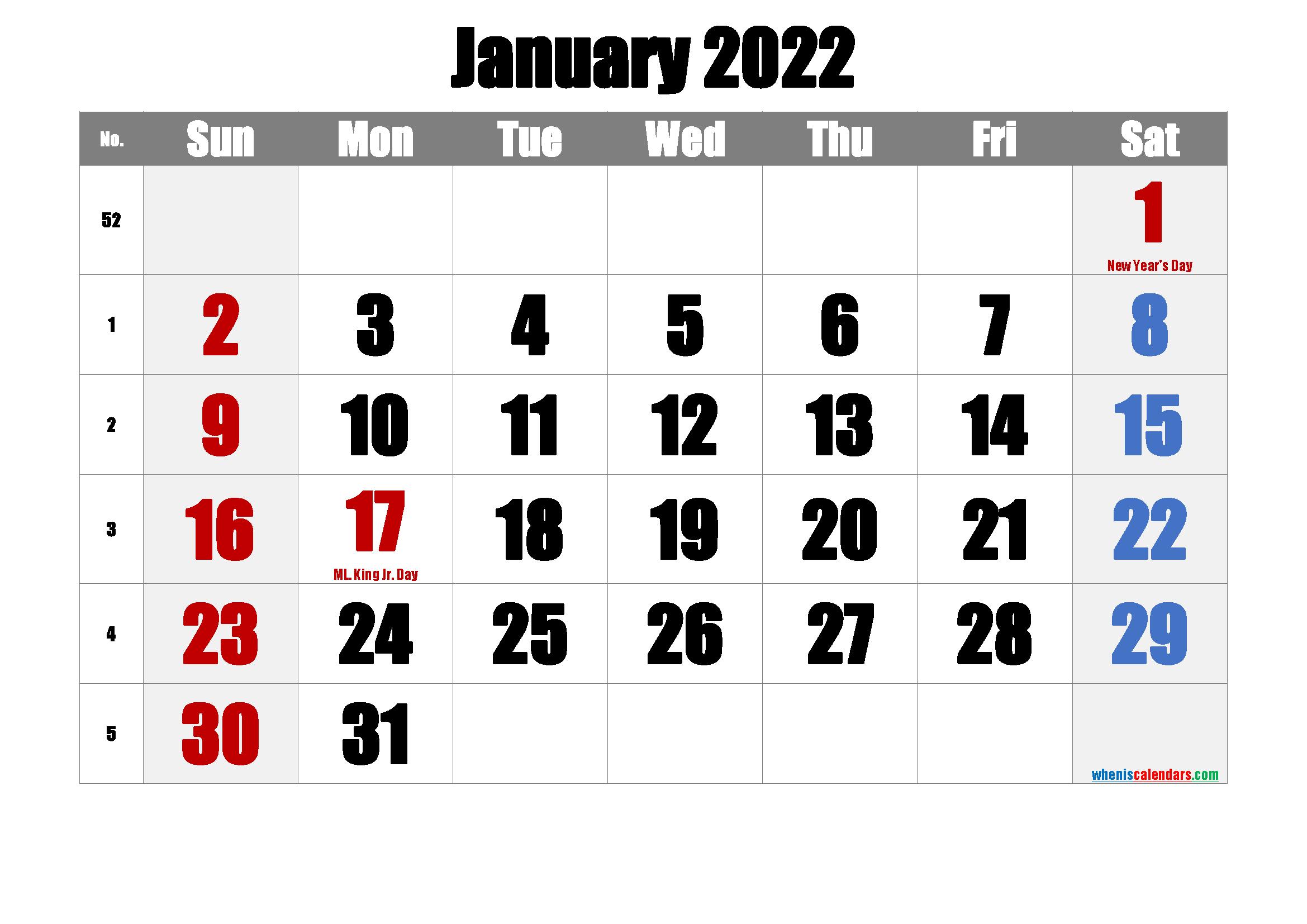 January 2022 Printable Calendar With Holidays – Free Pertaining To Free Printable Calendar January 2022 With Holidays