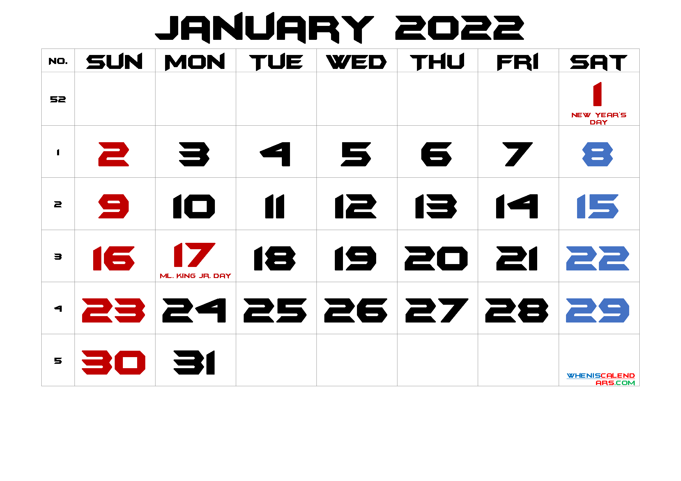 January 2022 Printable Calendar With Holidays in Free Printable Calendar January 2022 With Holidays