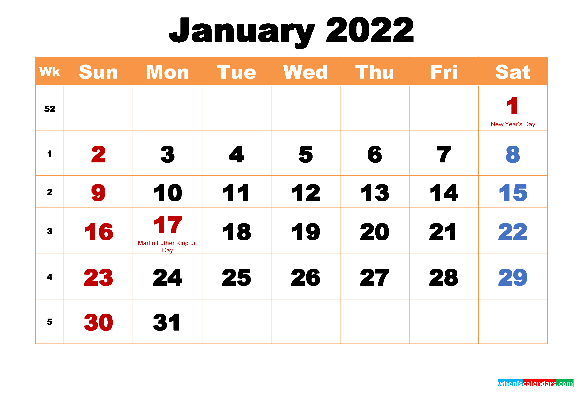 January 2022 Printable Monthly Calendar With Holidays For Printable Calendars January 2022 To December 2022
