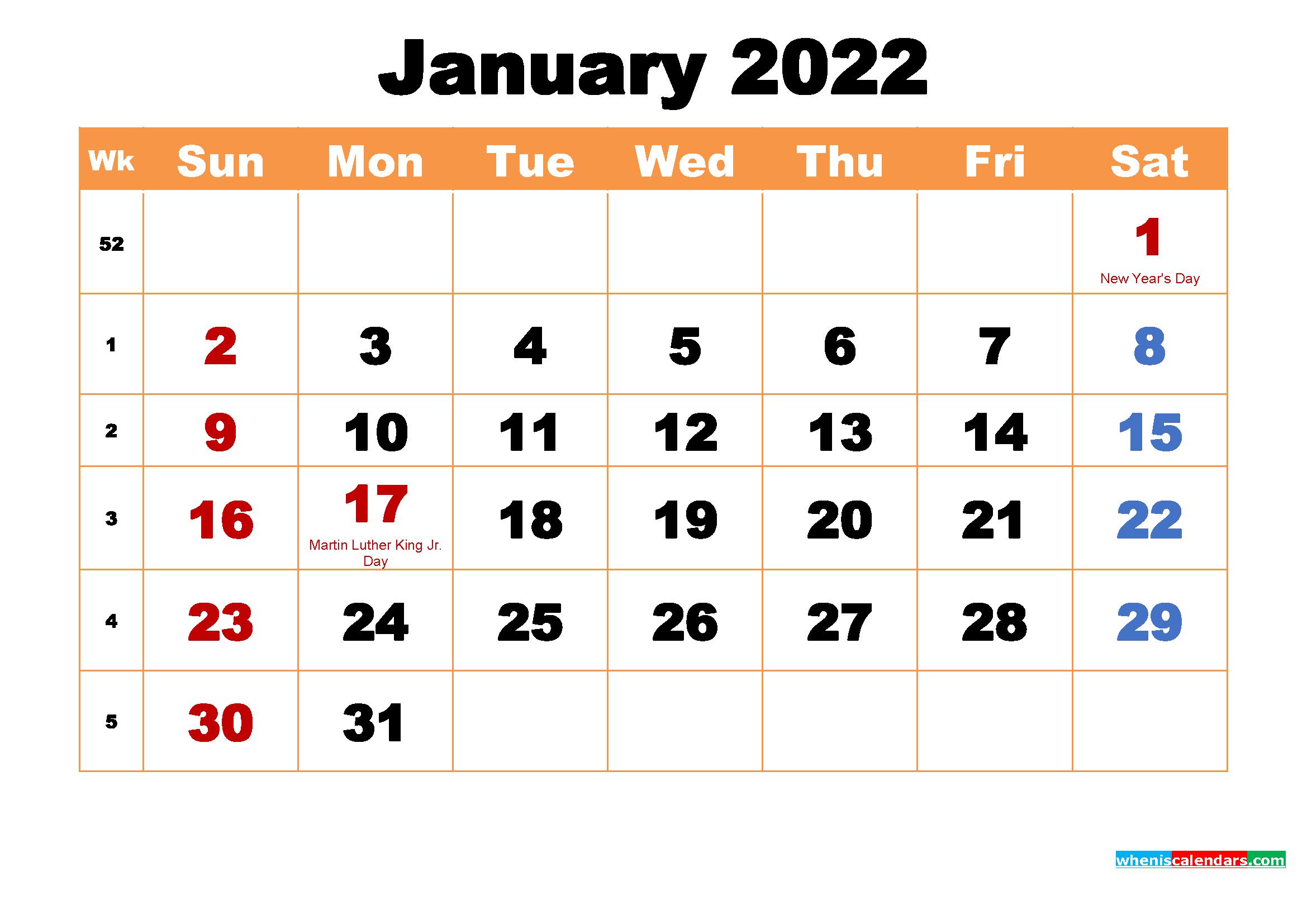 January 2022 Printable Monthly Calendar With Holidays Inside Empty January 2022 Calendar