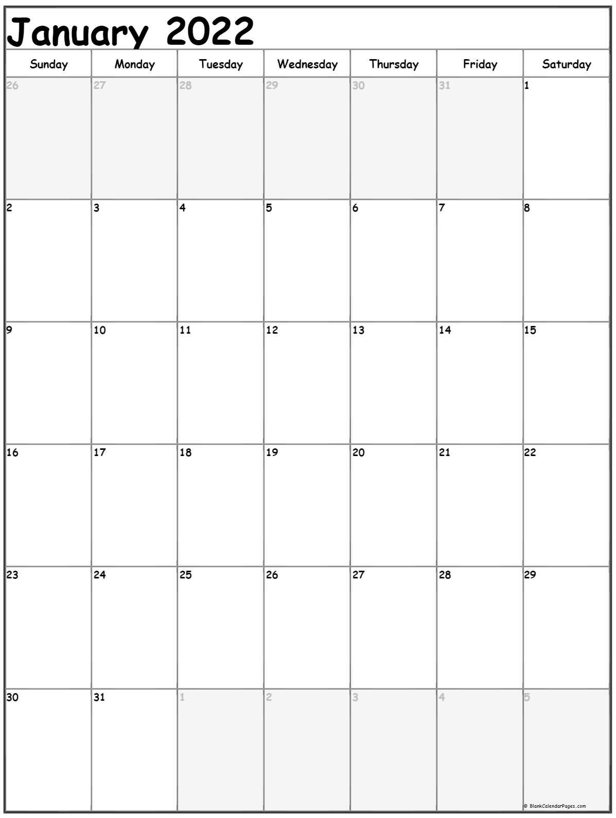 January 2022 Vertical Calendar   Portrait For Monthly Calendar 2022 January