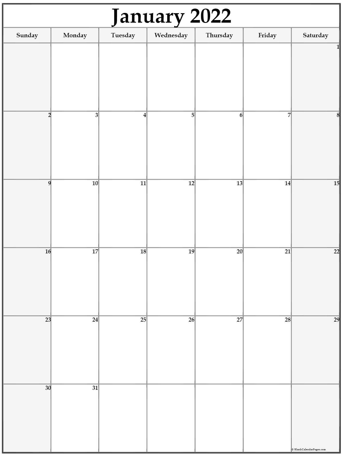 January 2022 Vertical Calendar | Portrait In January 2022 Free Printable Calendar