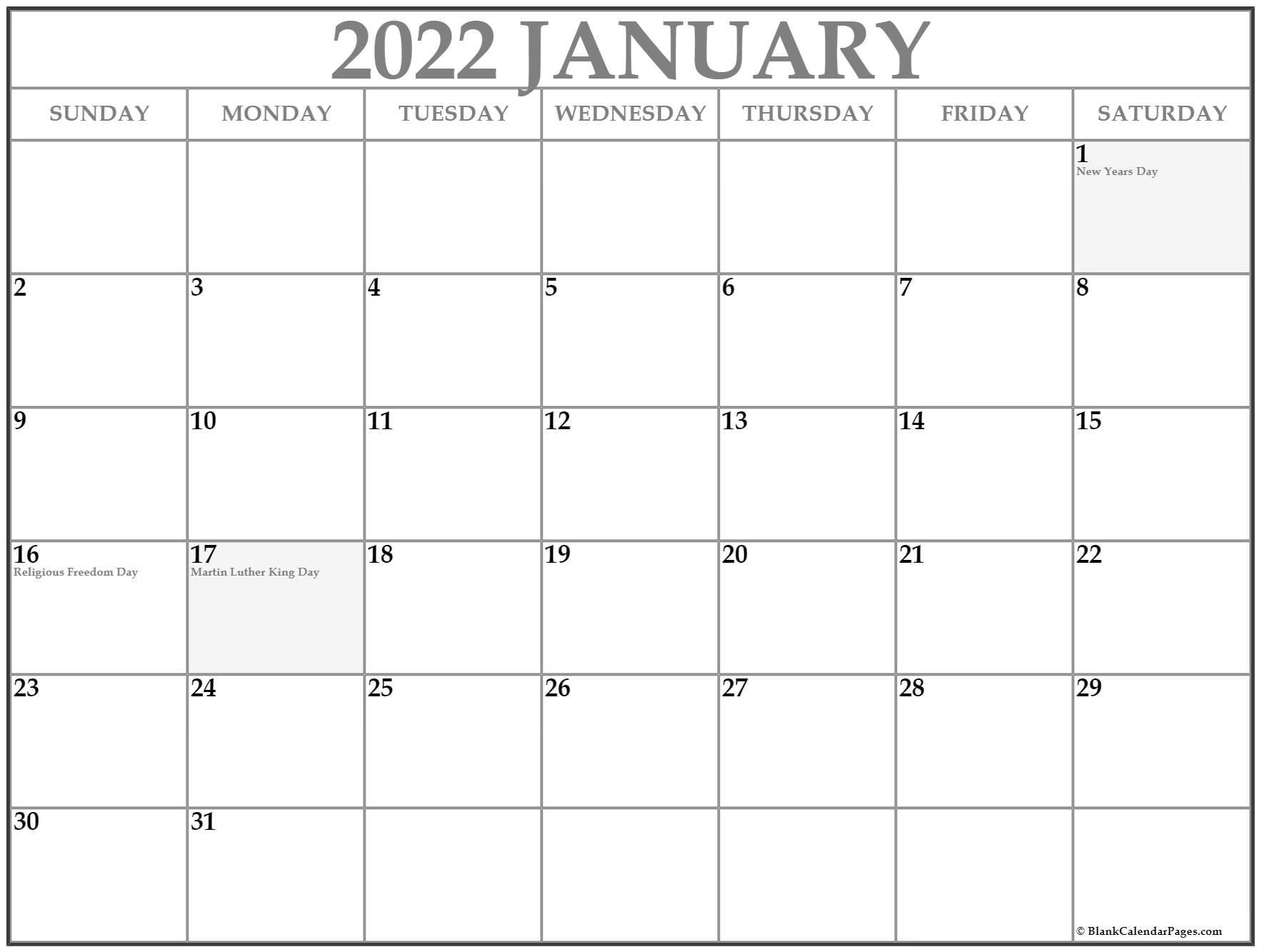 January 2022 With Holidays Calendar Inside Januarycalendar 2022 With Holidays