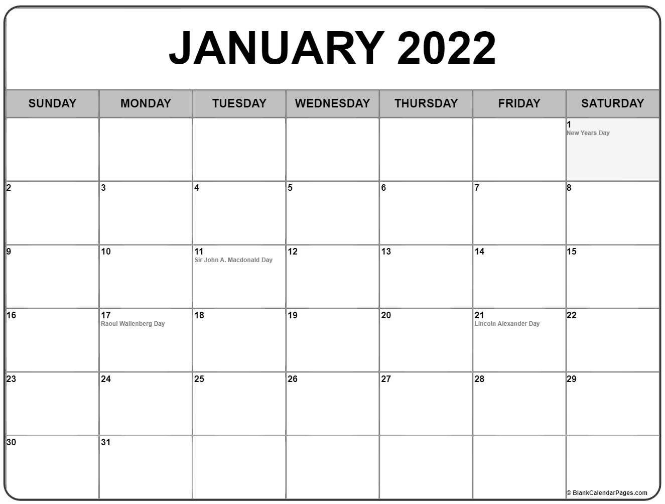 January 2022 With Holidays Calendar Pertaining To Empty Calendar January 2022