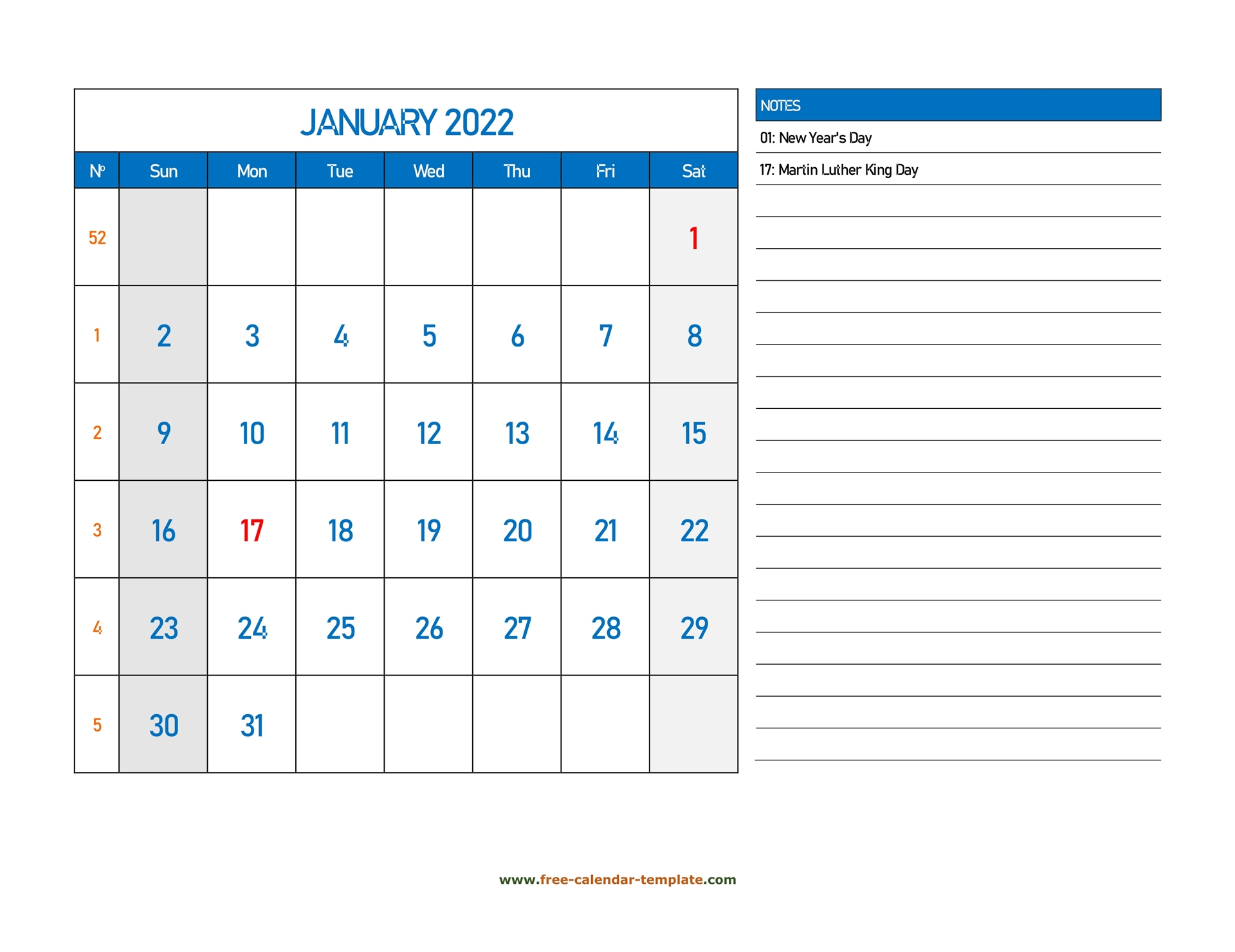 January Calendar 2022 Grid Lines For Holidays And Notes Intended For Calendar 2022 January Printable