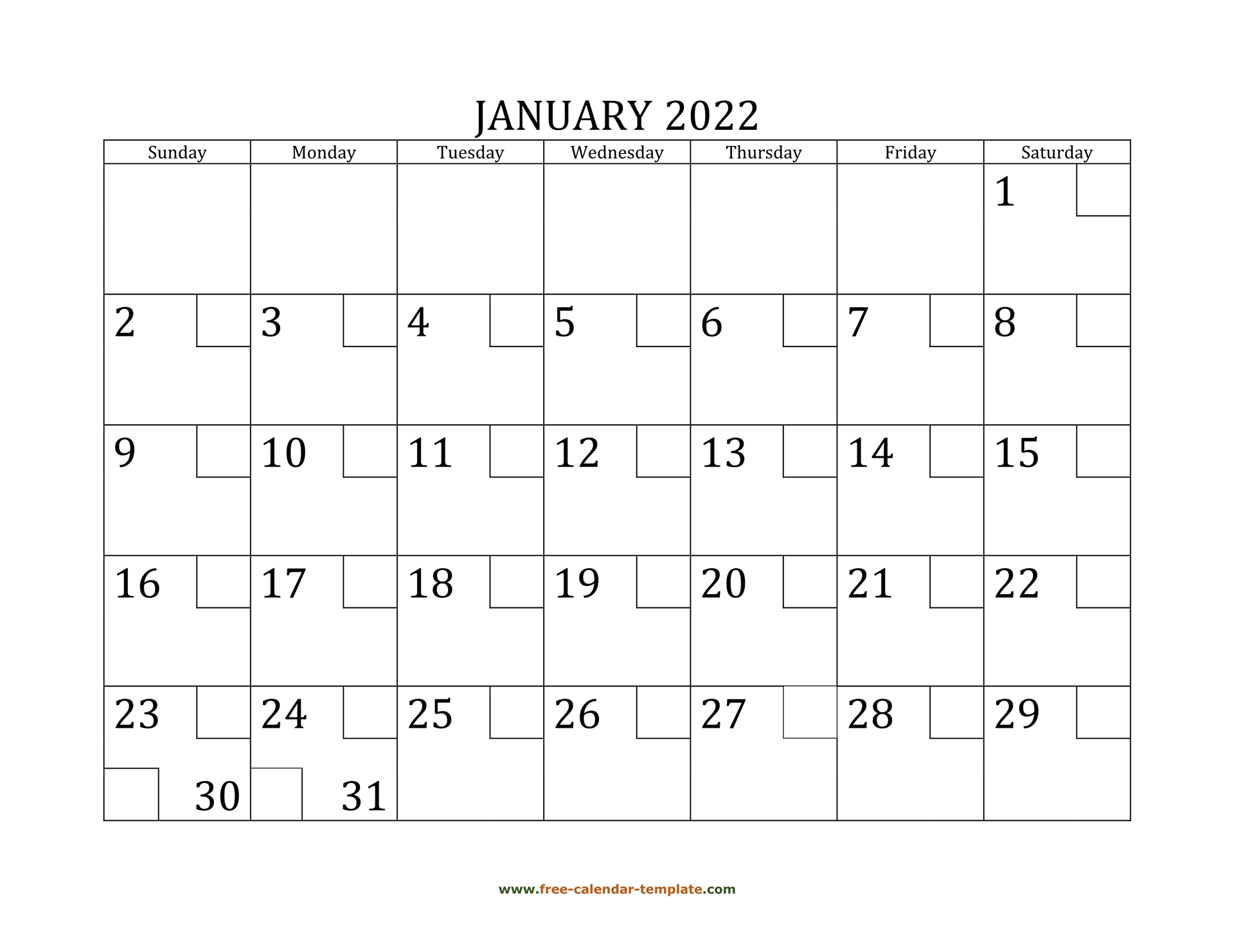 January Calendar 2022 Printable With Checkboxes Throughout January 2022 Free Printable Calendar