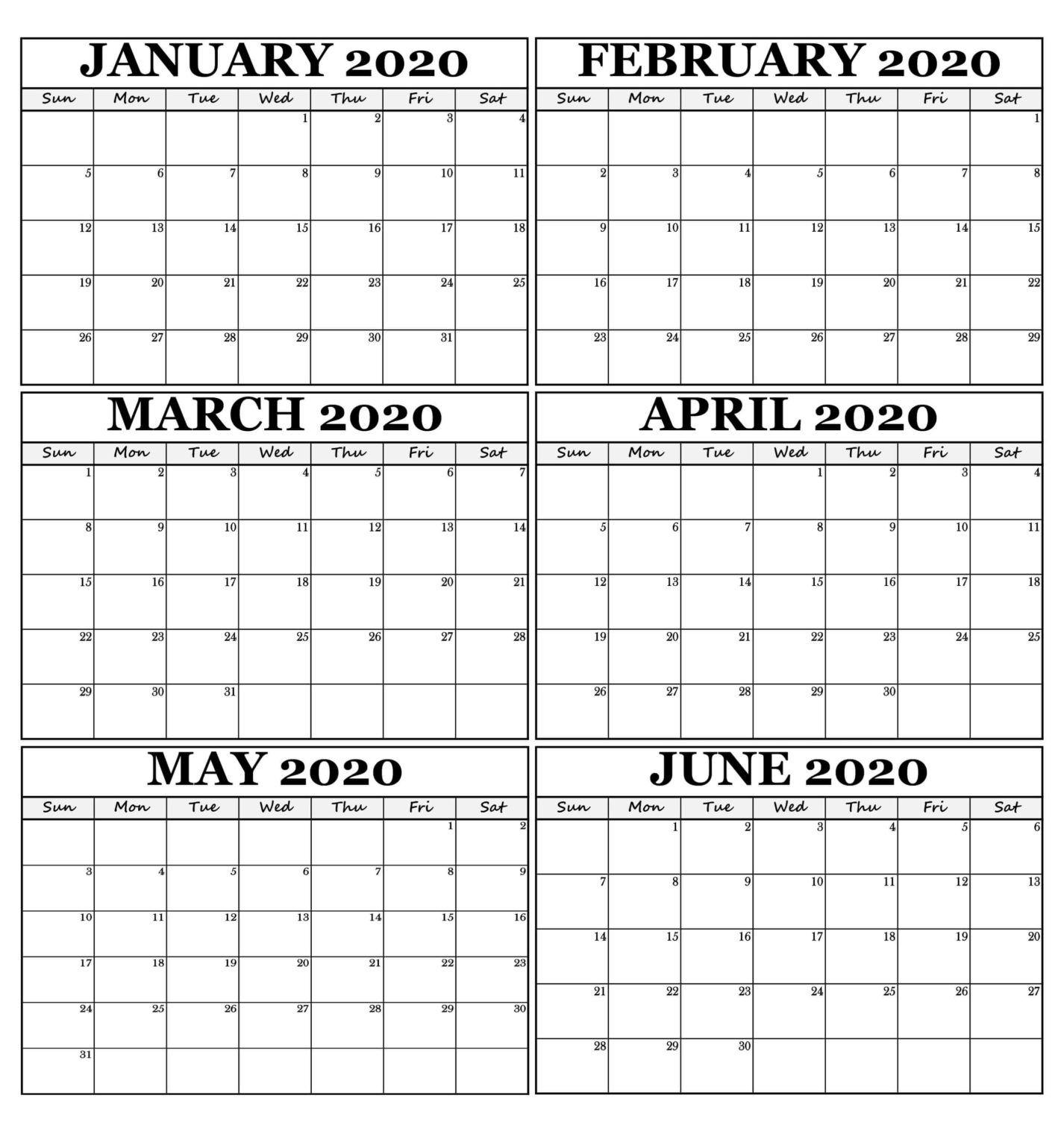 January February 2020 Calendar - Two Month Printable With January February March April May Calendar