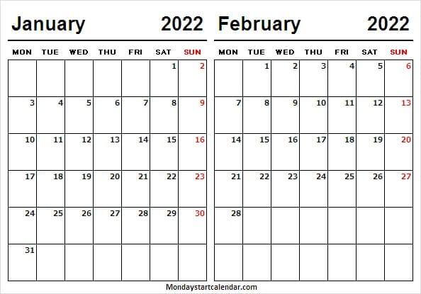 January February 2022 Calendar To Print – Calendar Jan Intended For January 2022 Calendar Monday Start
