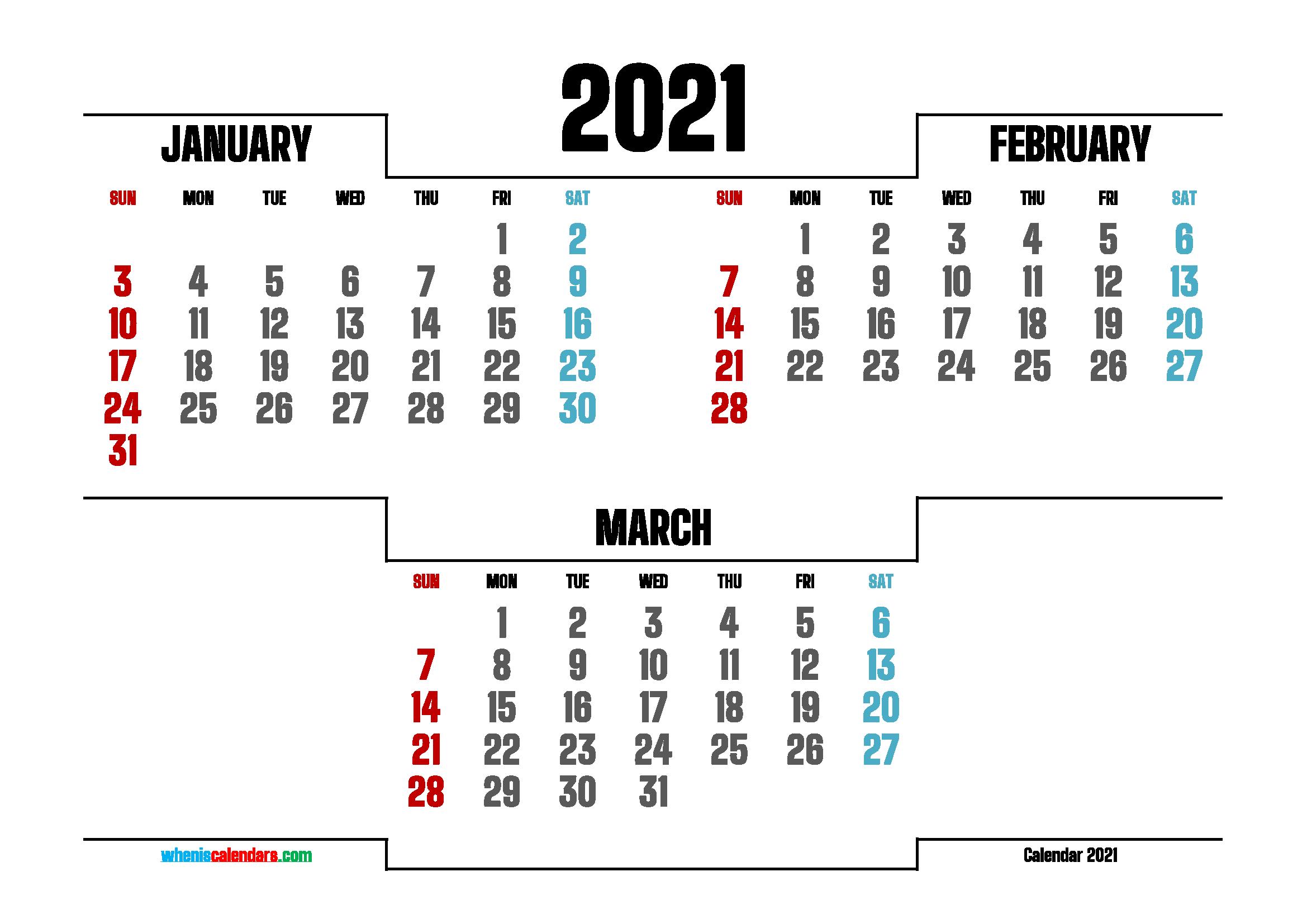 January February March 2021 Calendar Printable 214757 Inside January February March 2021 Calendar