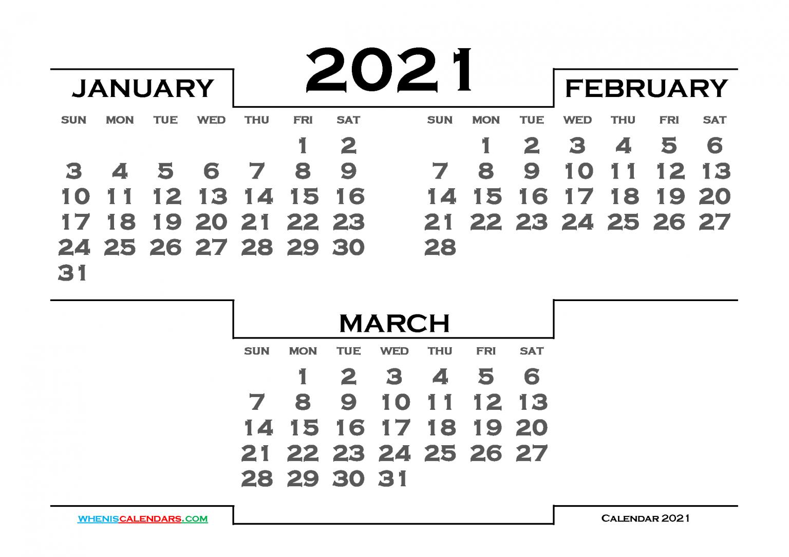January February March 2021 Calendar Printable 6 Templates For January February March 2021 Calendar