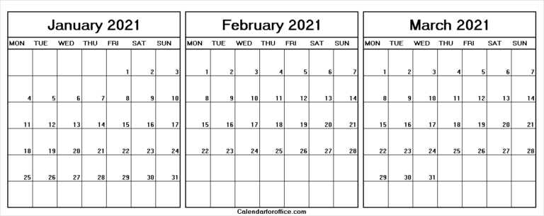 January February March 2021 Calendar Weekdays Only Within January February March 2021 Calendar