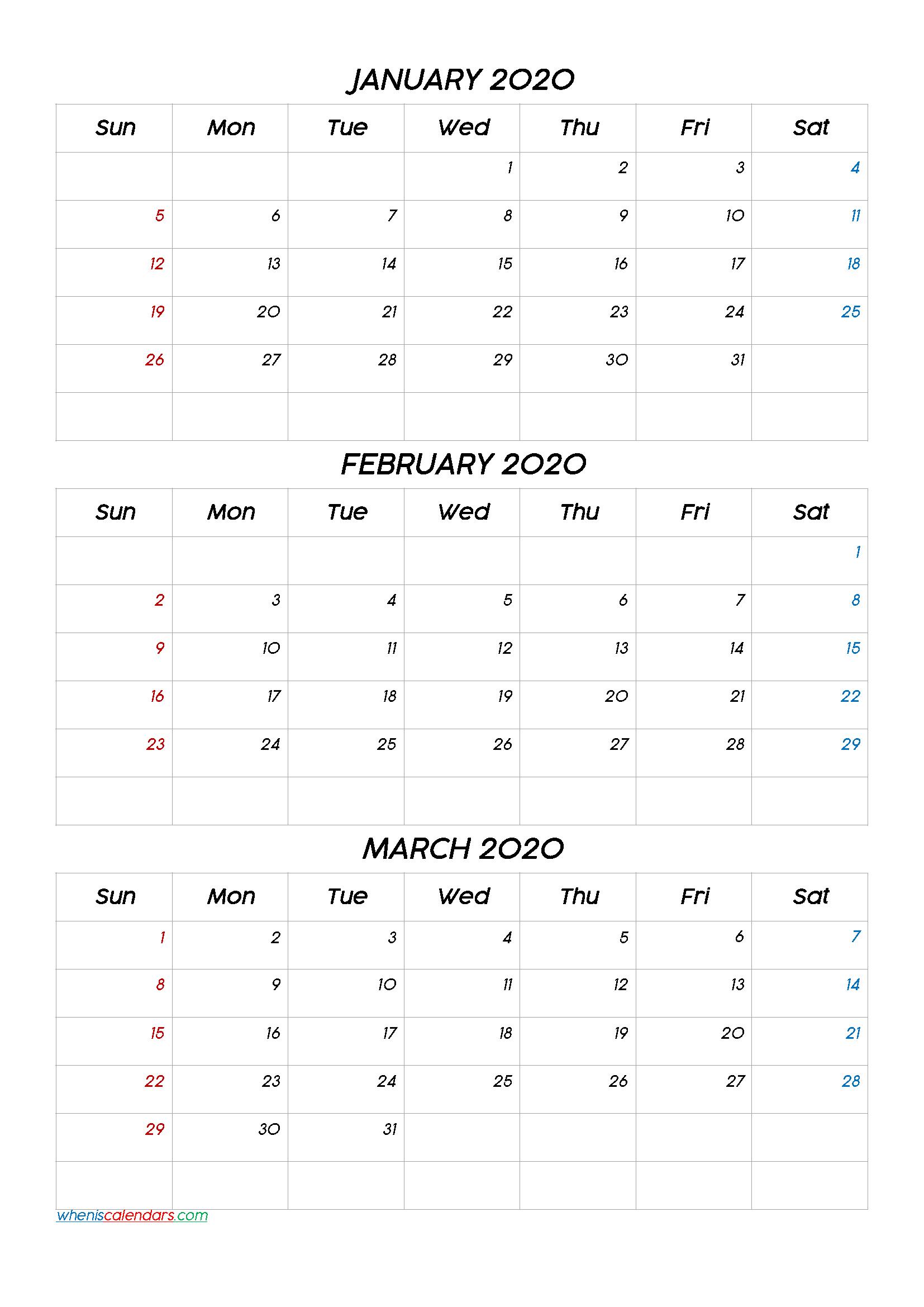 January February March 2021 Three Month Calendar Printable Within January February March 2021 Calendar
