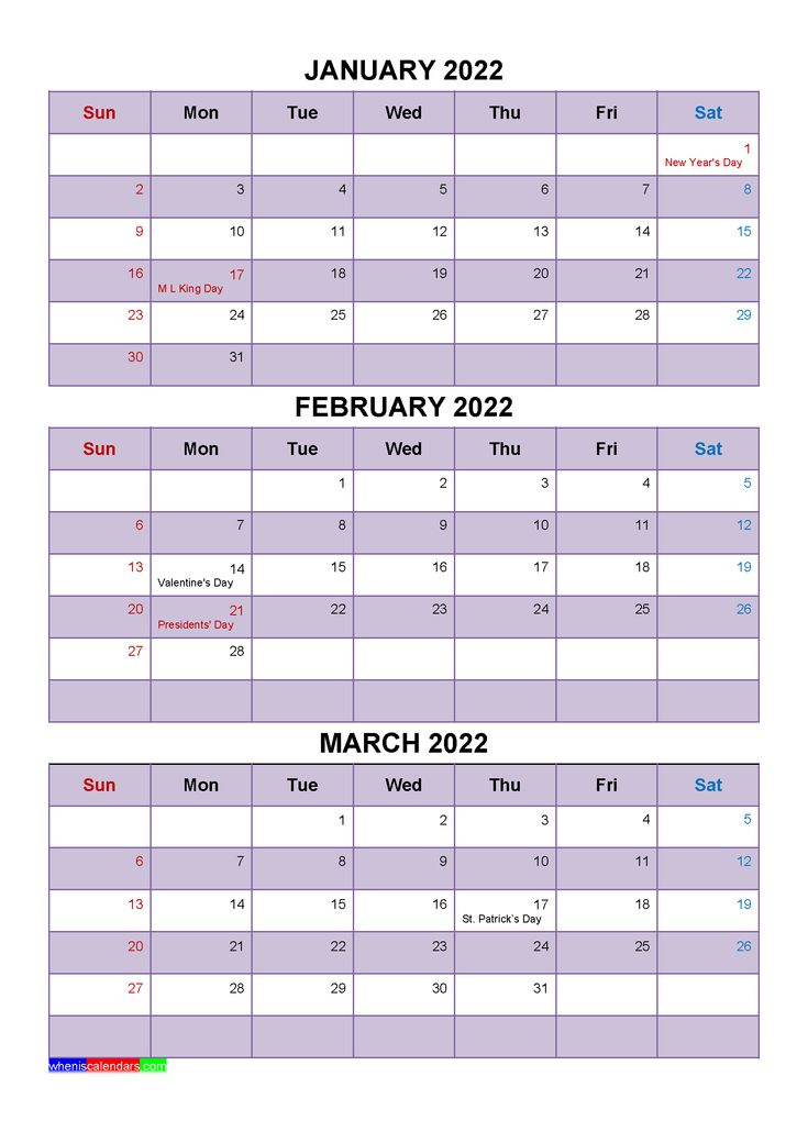 January February March 2022 Calendar With Holidays [Four for Full Page January 2022 Calendar