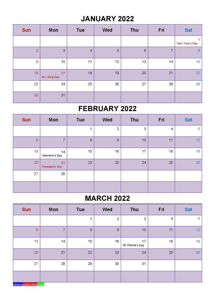 January February March 2022 Calendar With Holidays [Four In Feb 2022 Calendar Template