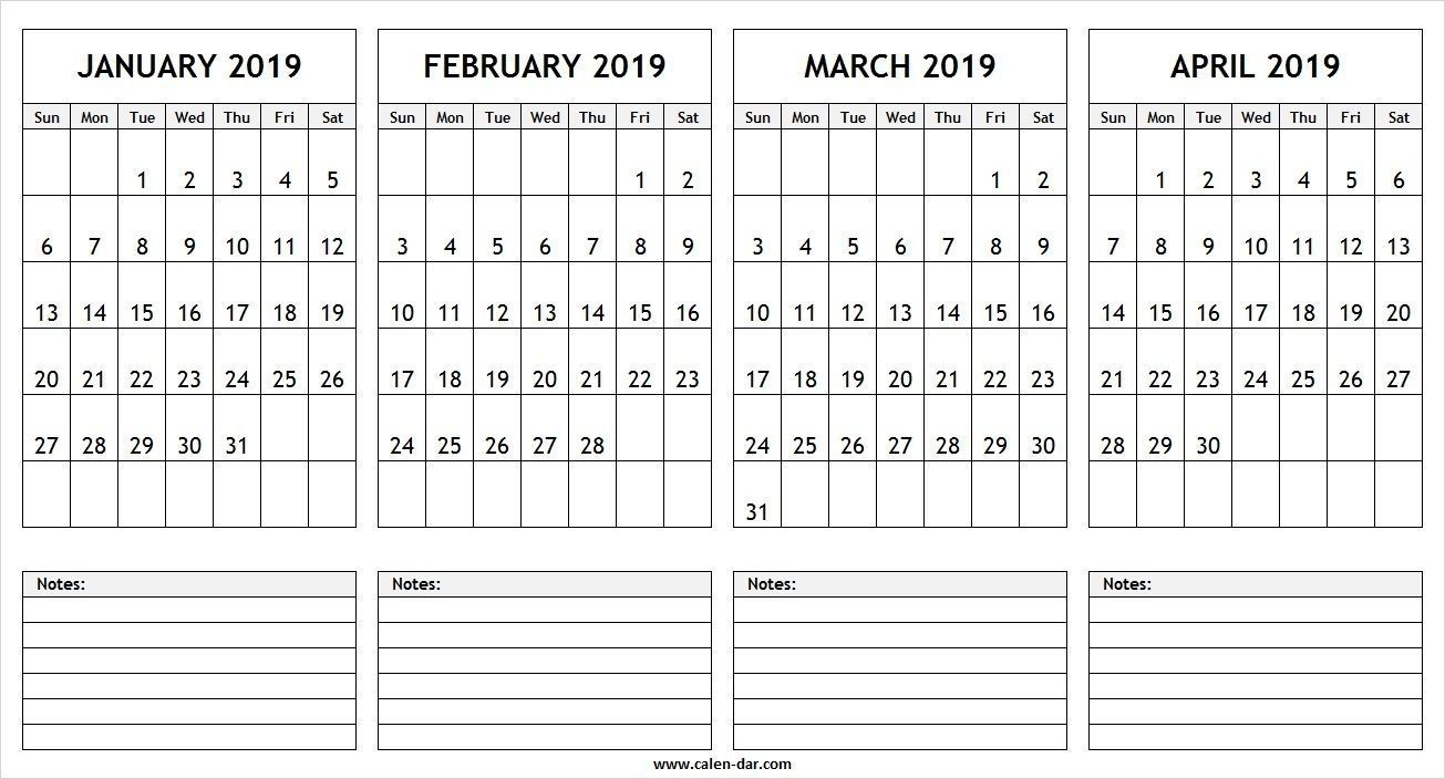 January February March April 2019 Calendar | Monthly within November December January February March Calendars