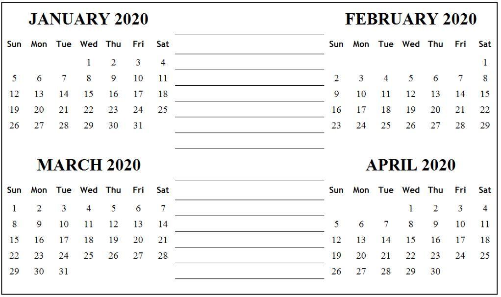 January February March April 2020 Calendar Printable In January February March April May Calendar